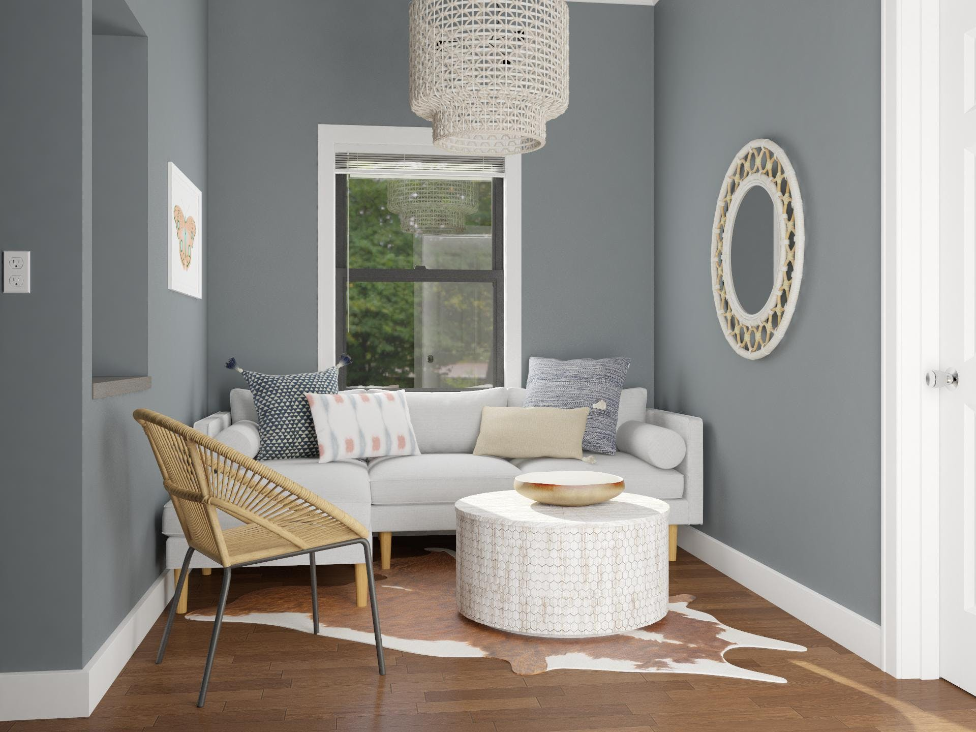 Charcoal Gray Living Room With Lively Eclectic Accents in Earth Tones