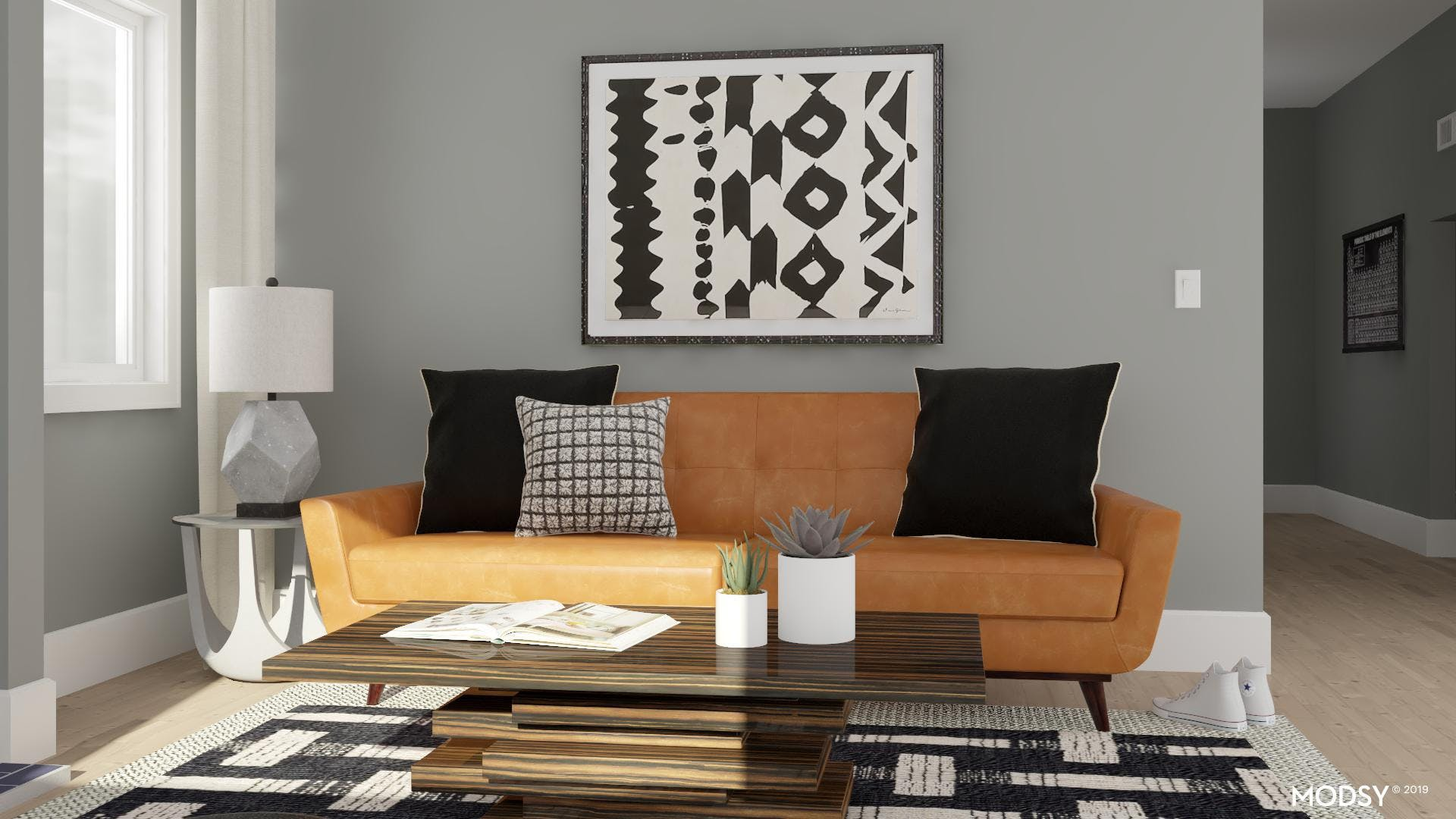 Mid-Century Living Room With A Masculine Edge