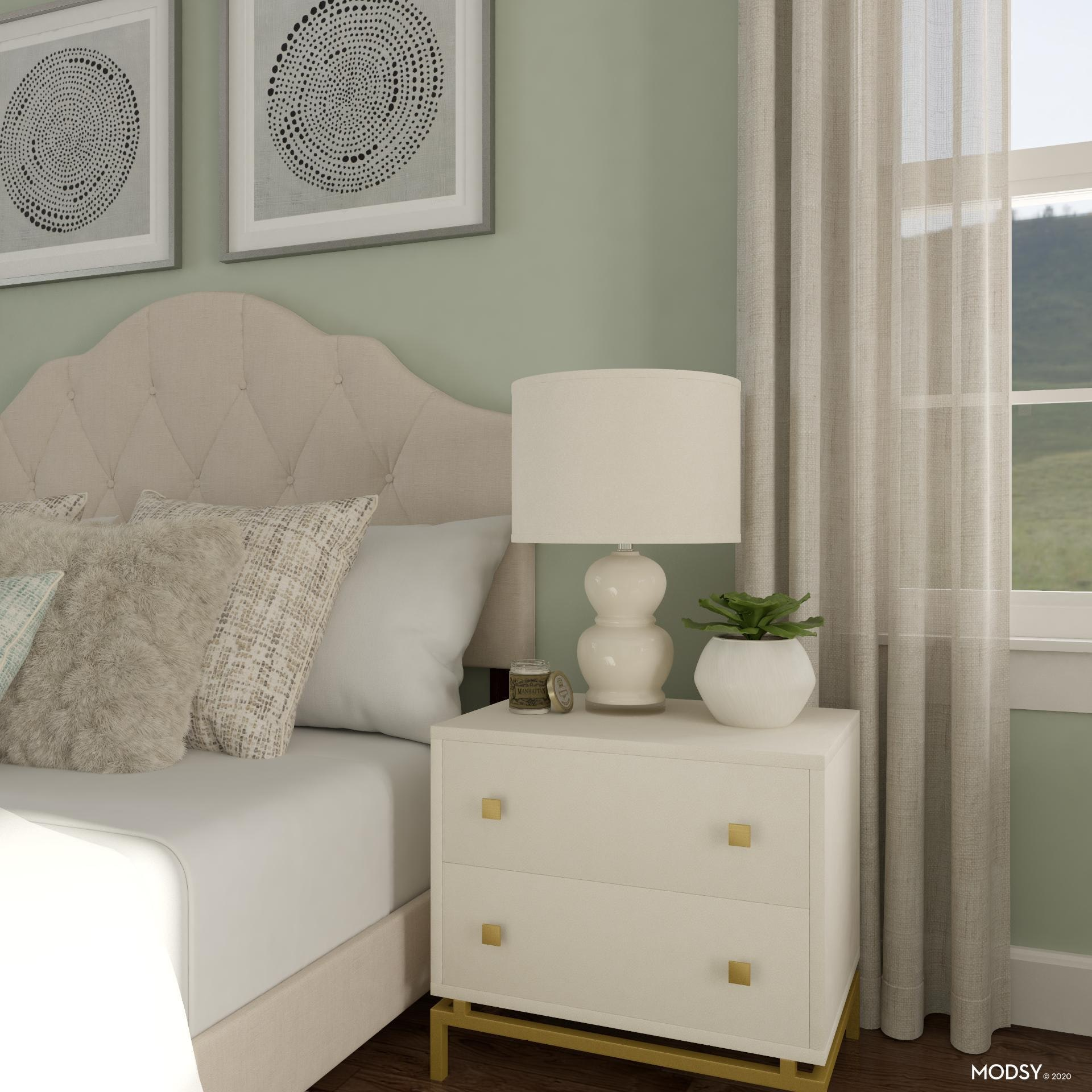 Simple Nightstand Surface Styling Transitional Style Bedroom Design Ideas