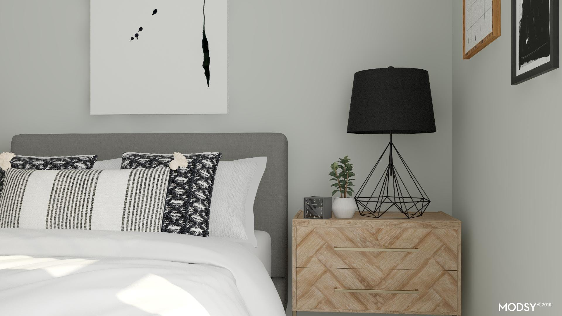 Neutral Modern Bedroom With Geometric Accents