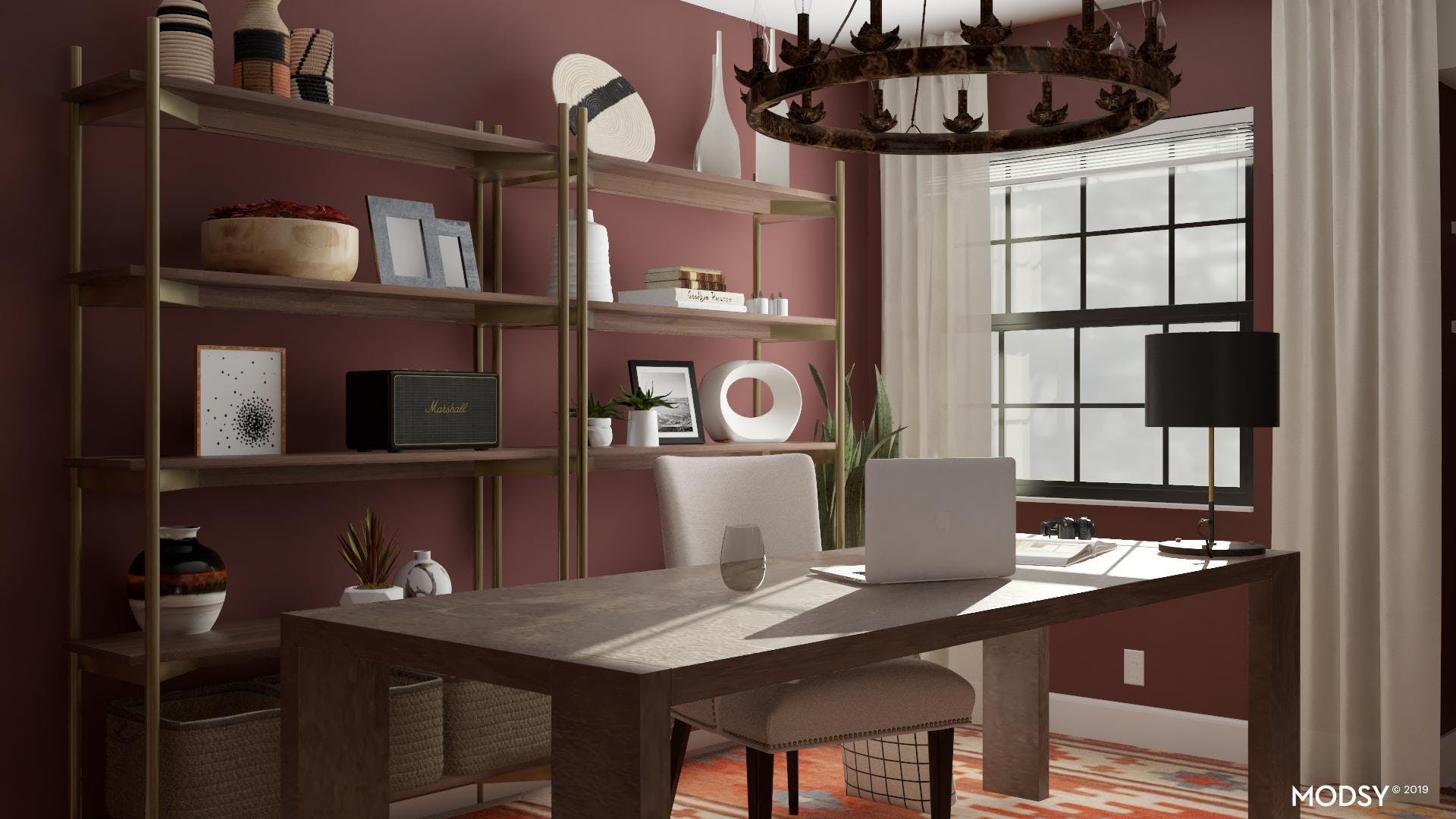 Traditional Office Elevated With Kilim Navajo Inspired Rug