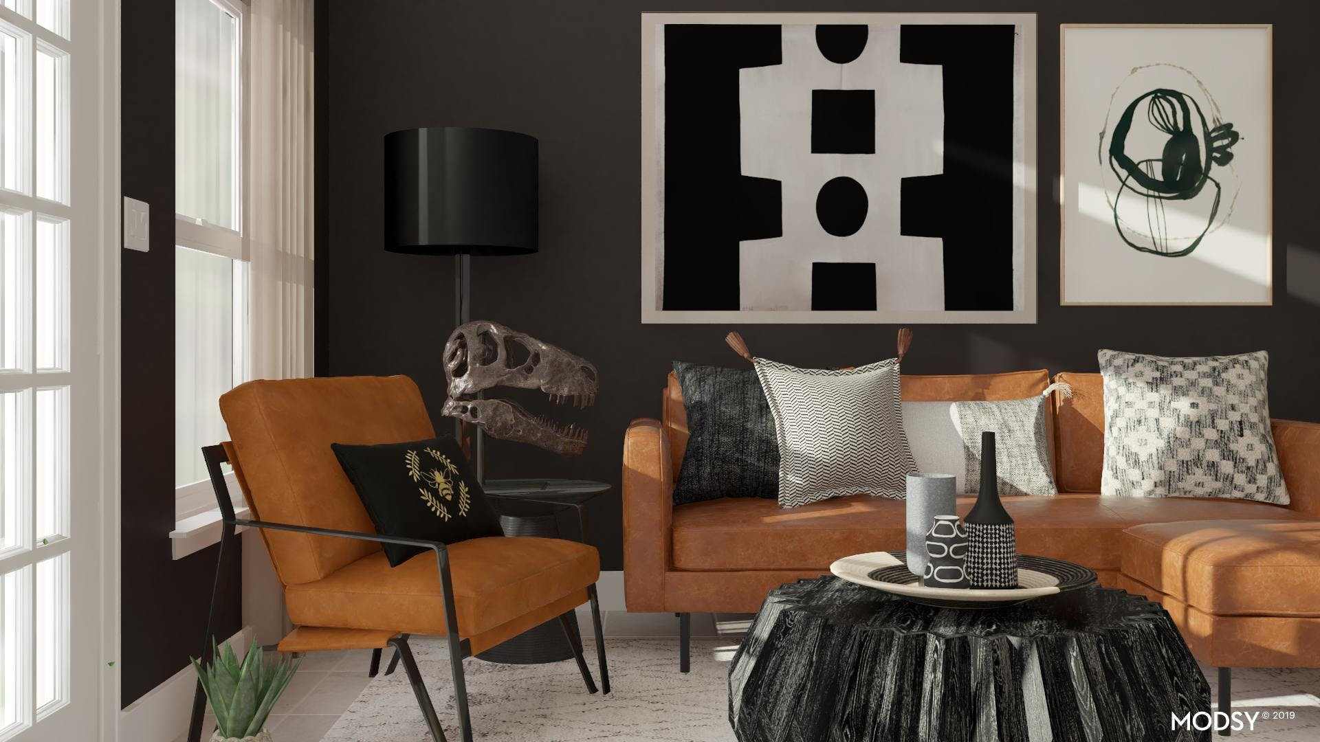 Contemporary Black and Leather