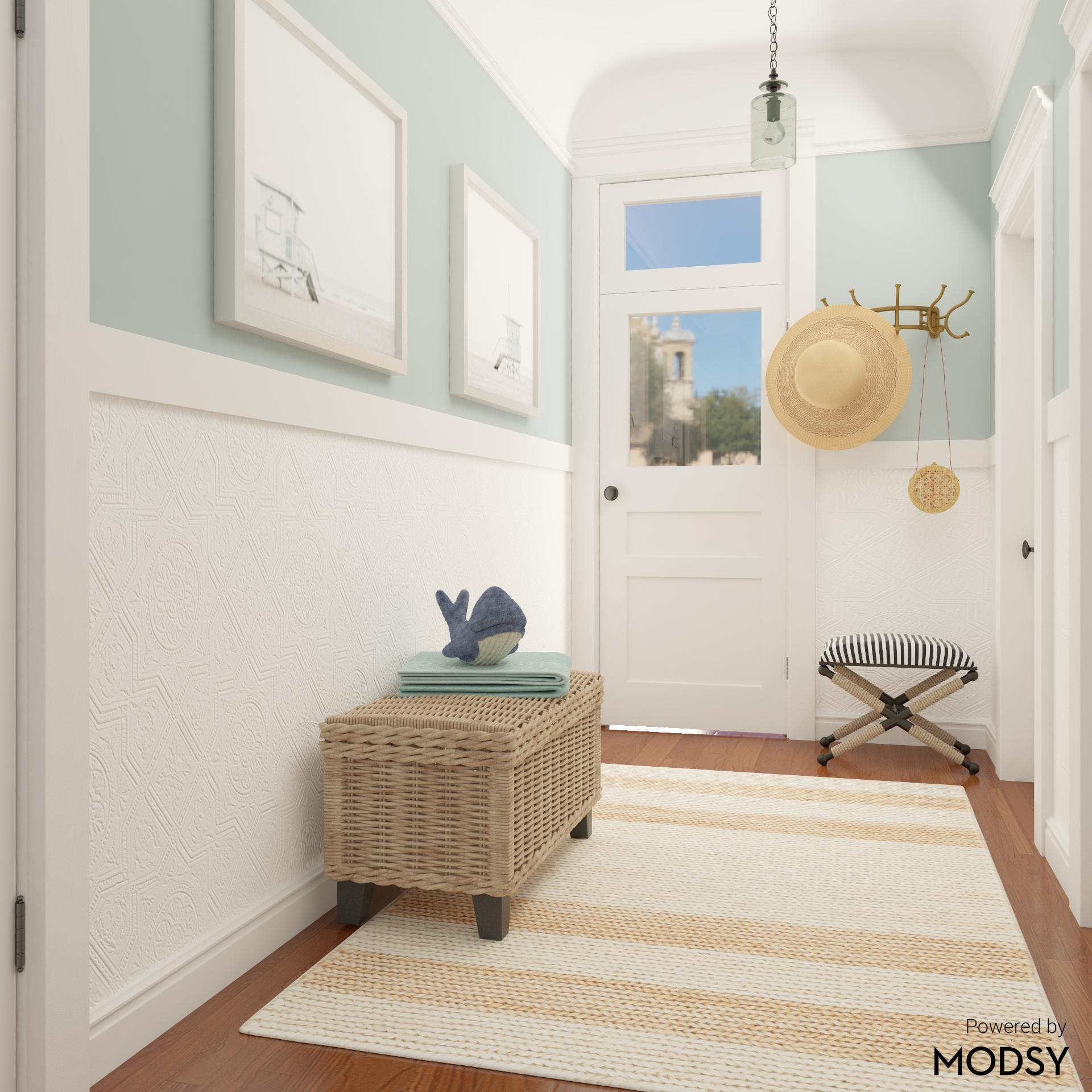Coastal Style Entryway in Breezy Color Pallette