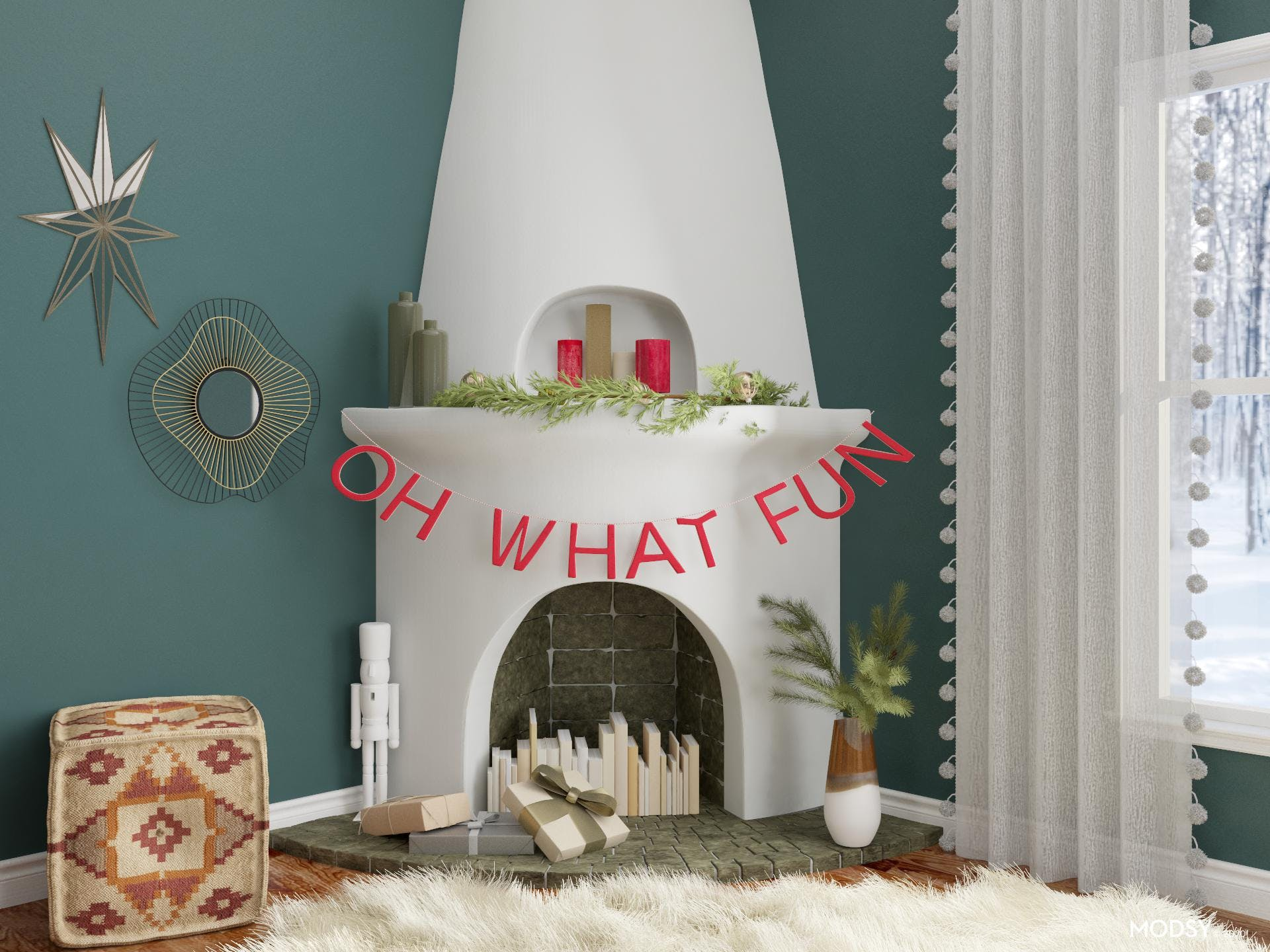 Funky Fun Holiday Mantel