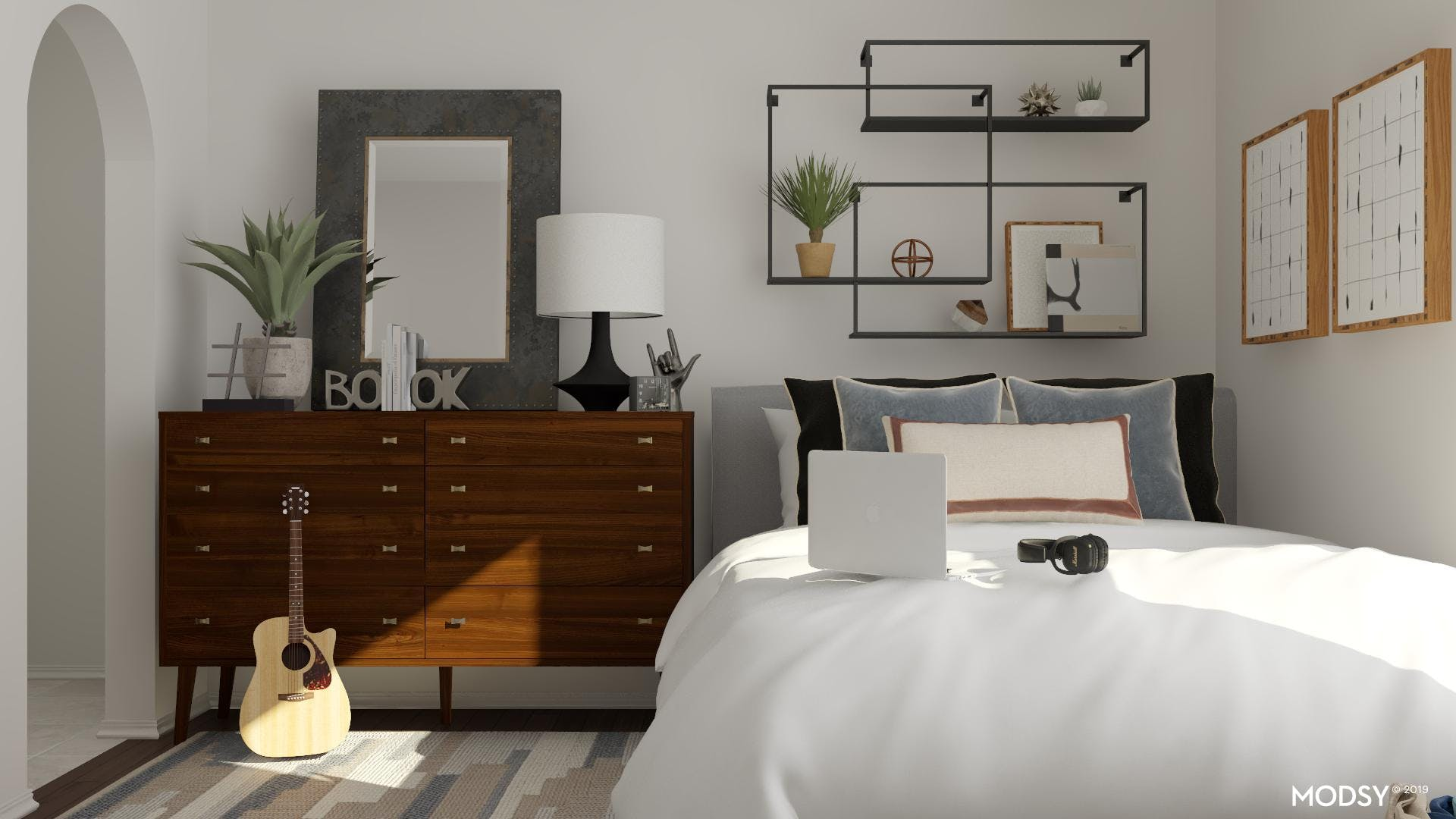 Mod And Masculine Meet Neutral Bedroom