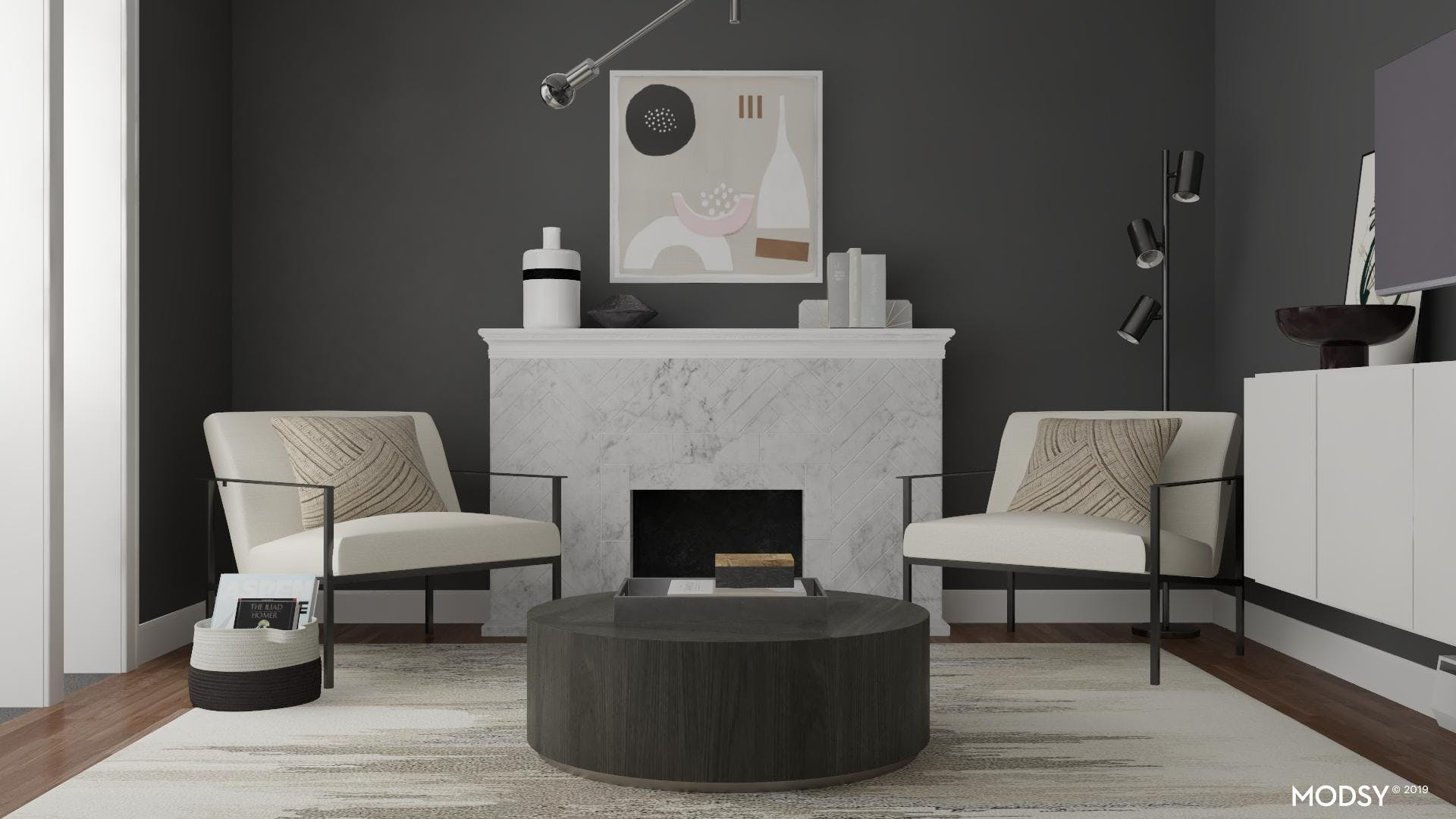 Neutral Fireplace Styling