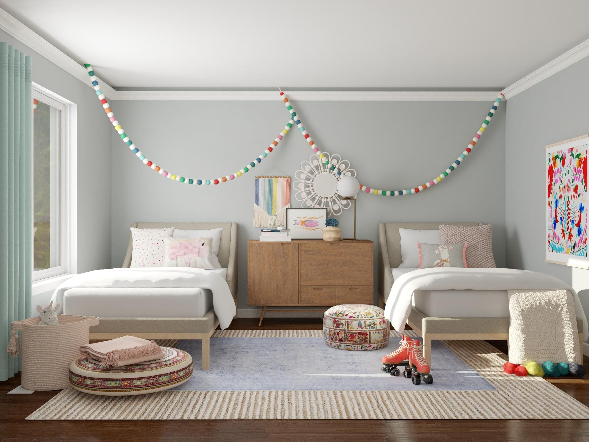 Double The Trouble: Eclectic Kids Bedroom