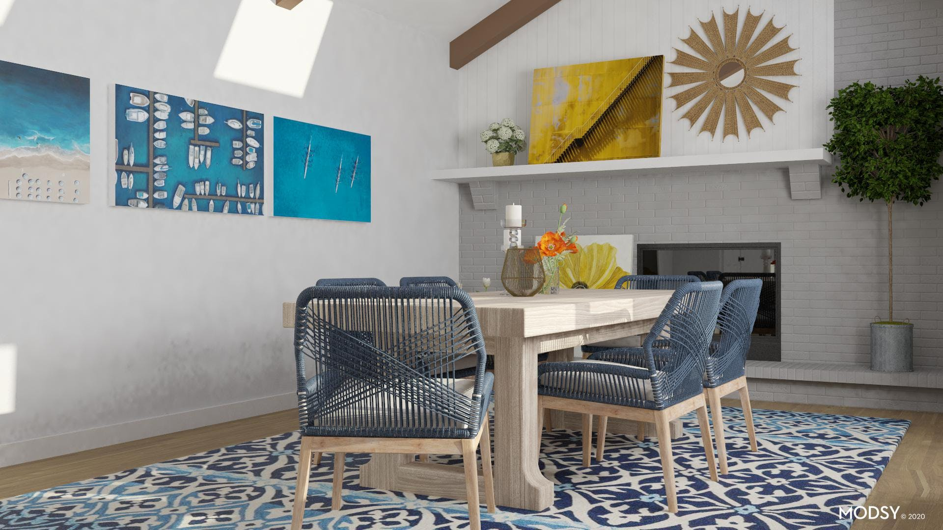 Eclectic, Bright: Multicolor Dining Room