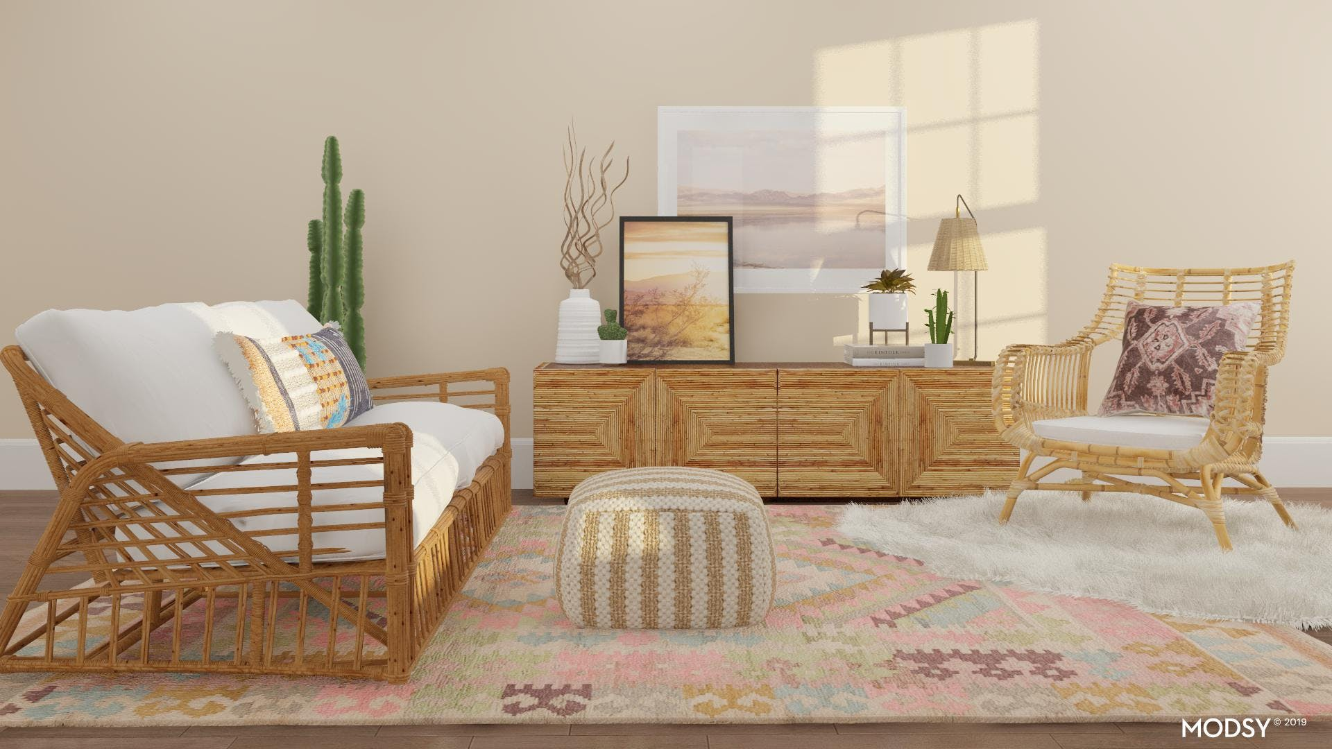 A Rattan-Filled Living Room