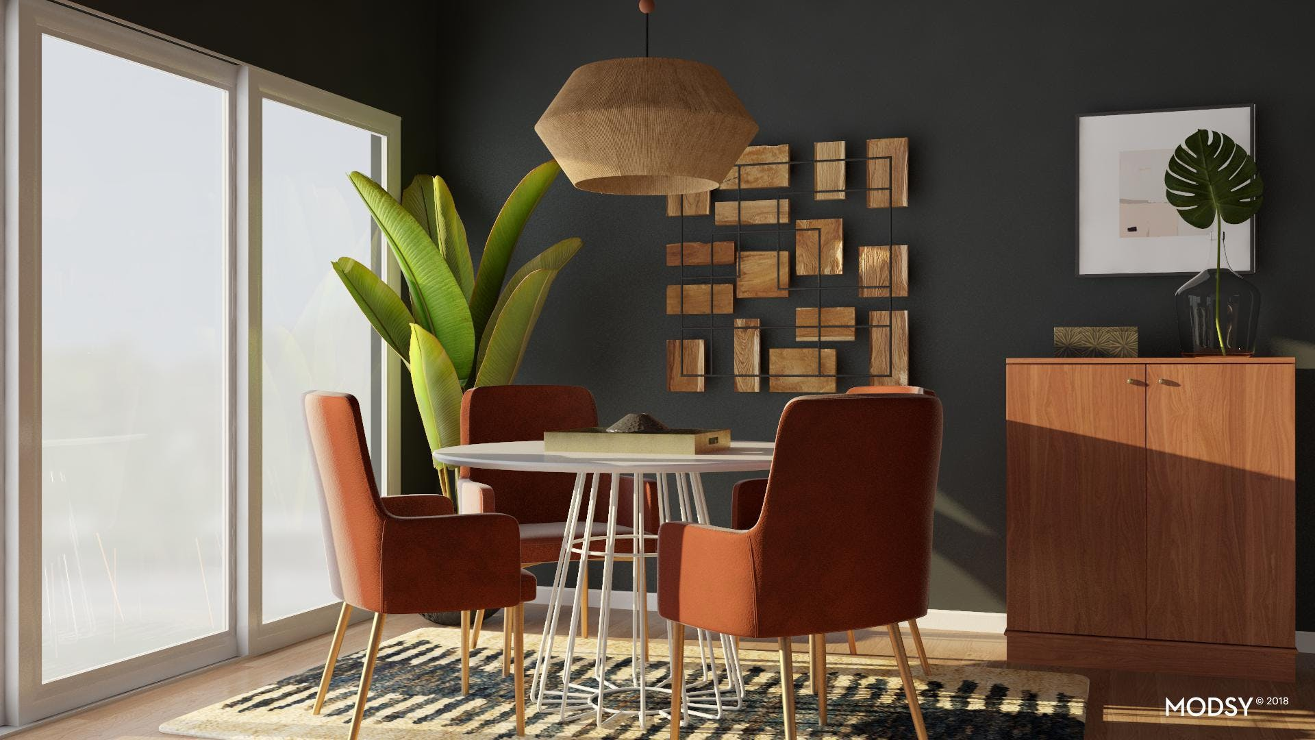 Warm Elements That Modernize A Dining Room