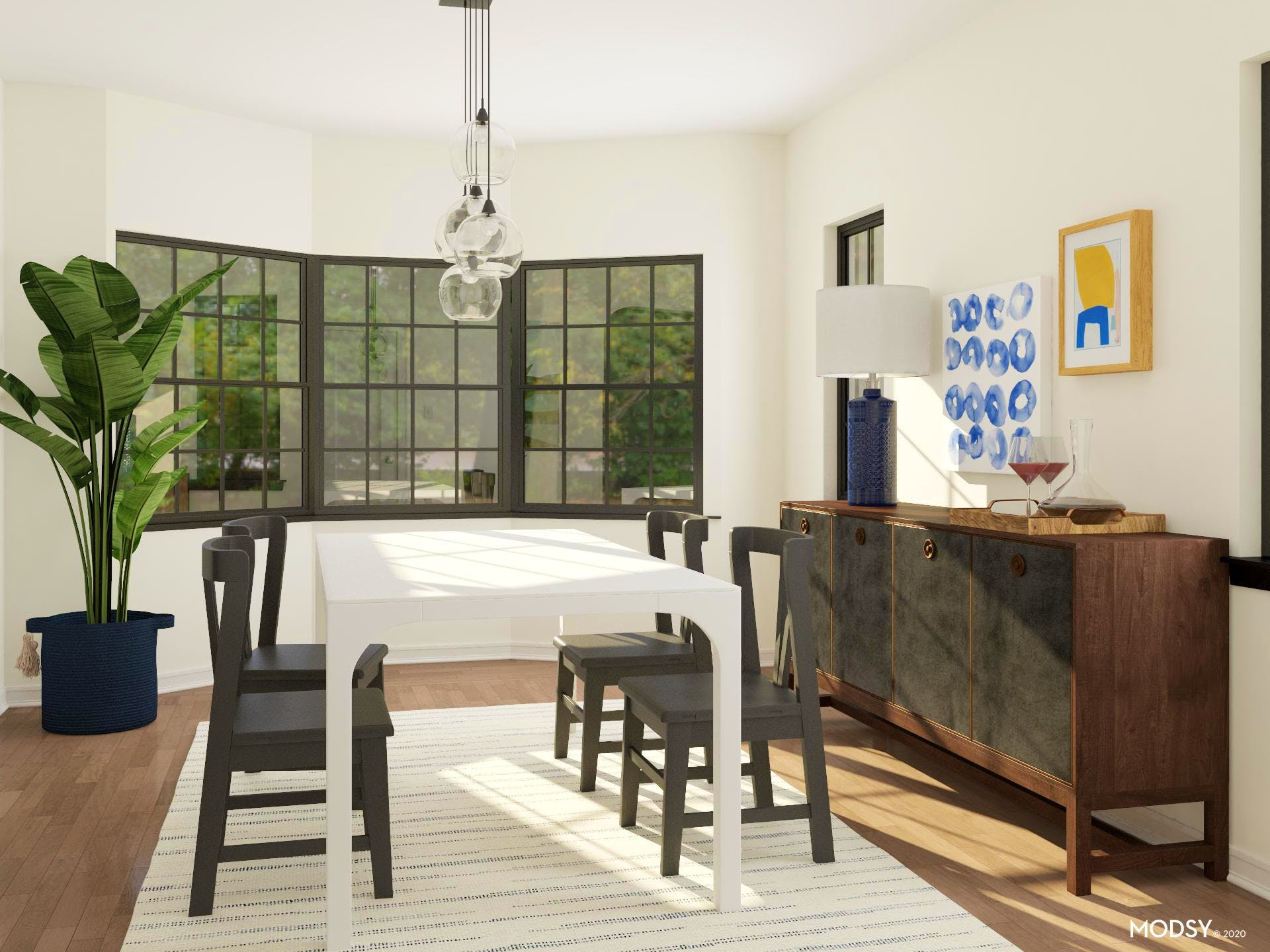 Inviting Contemporary Dining with Transitional Touches