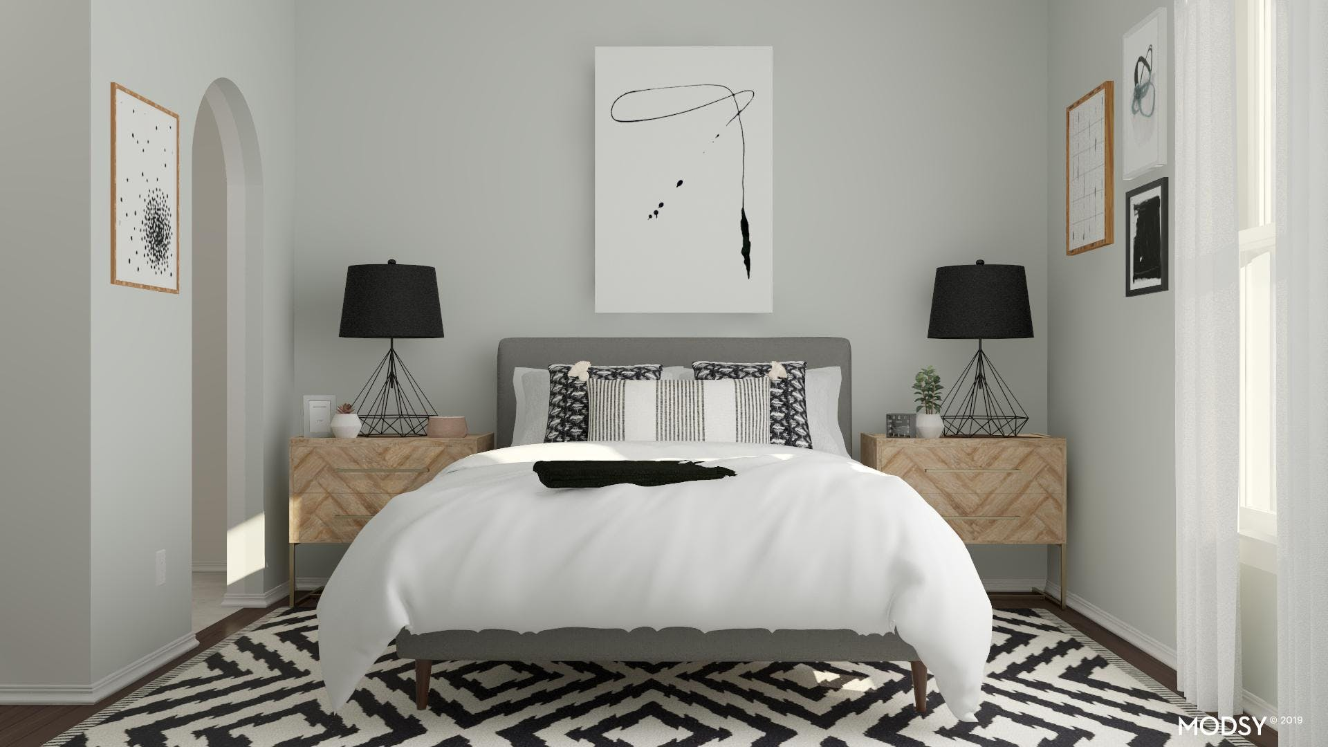 Bold Black And White Geometric Bedroom