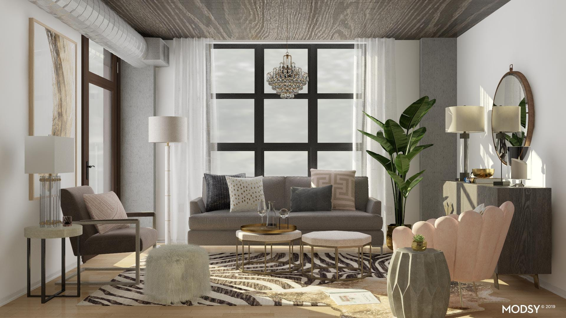 An Industrial Glam Living Room