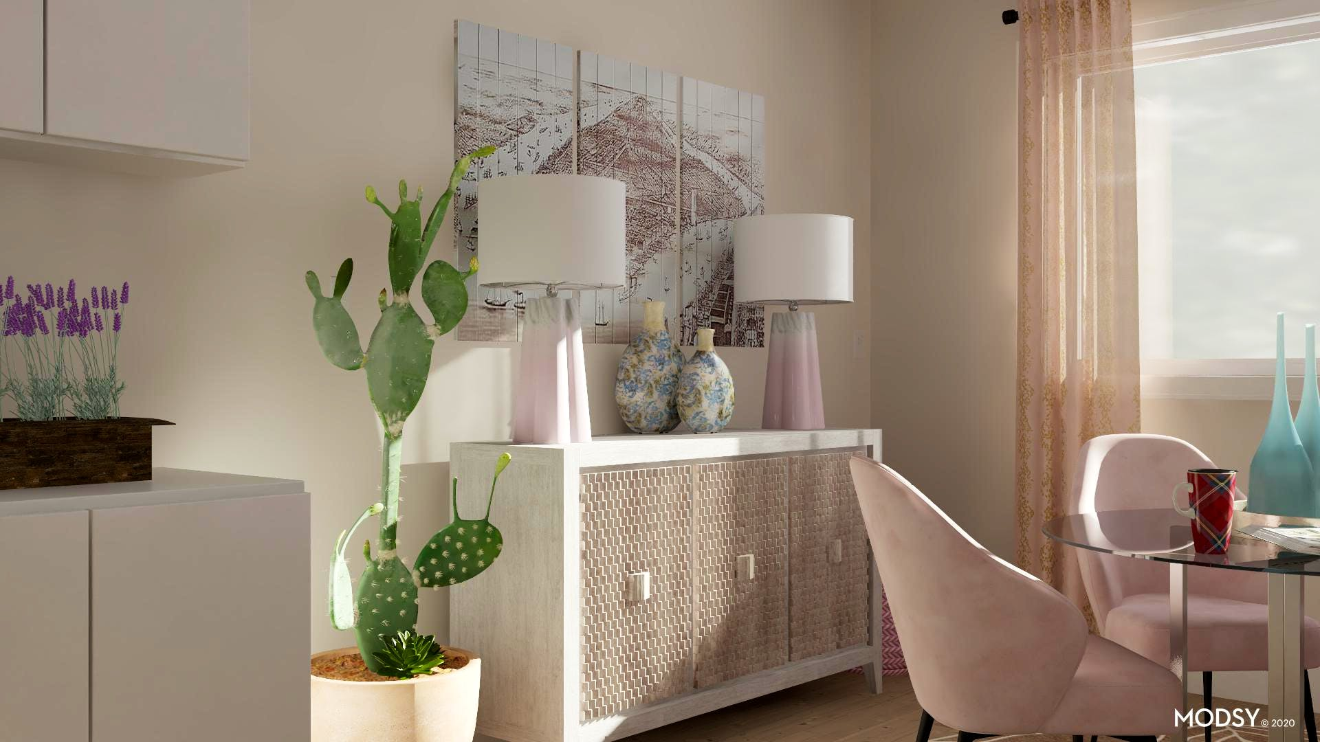 Muted Pastel Palette Eclectic Style Dining Room Design Ideas
