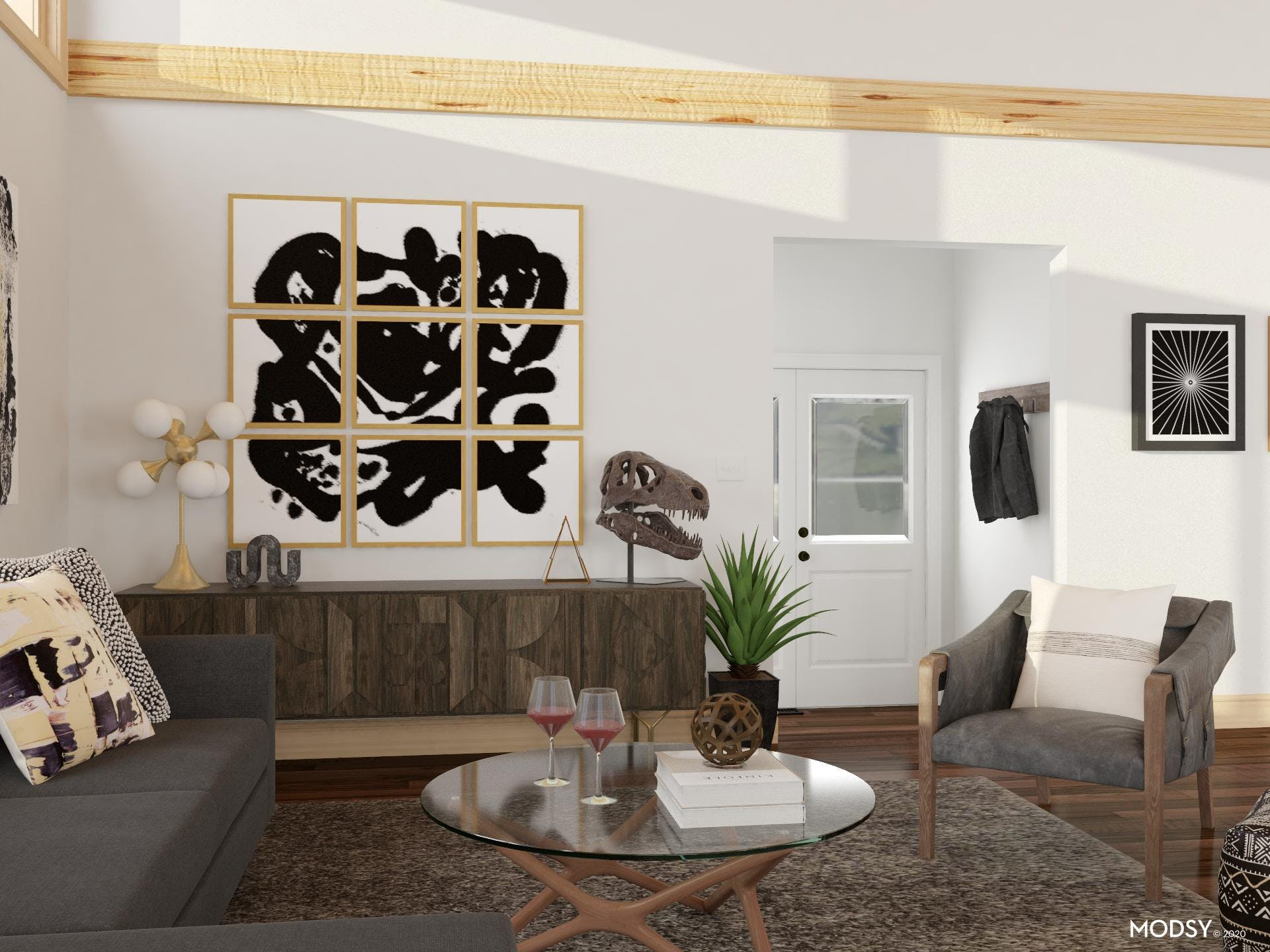 Varied Textures: An Eclectic Black And White Living Room