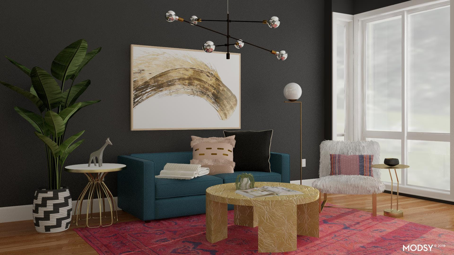Chic Living Room with Bold Color