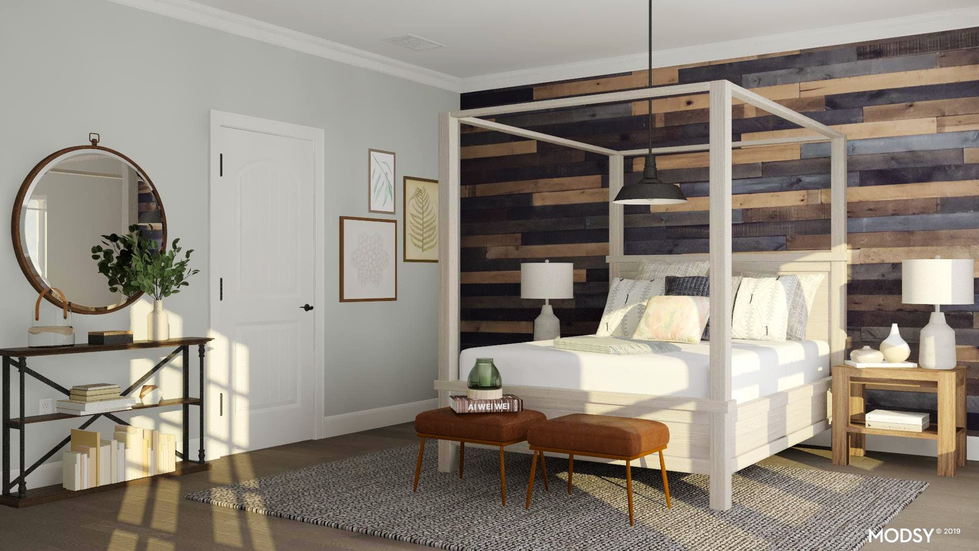 A Rustic Minimal Canopy Bed