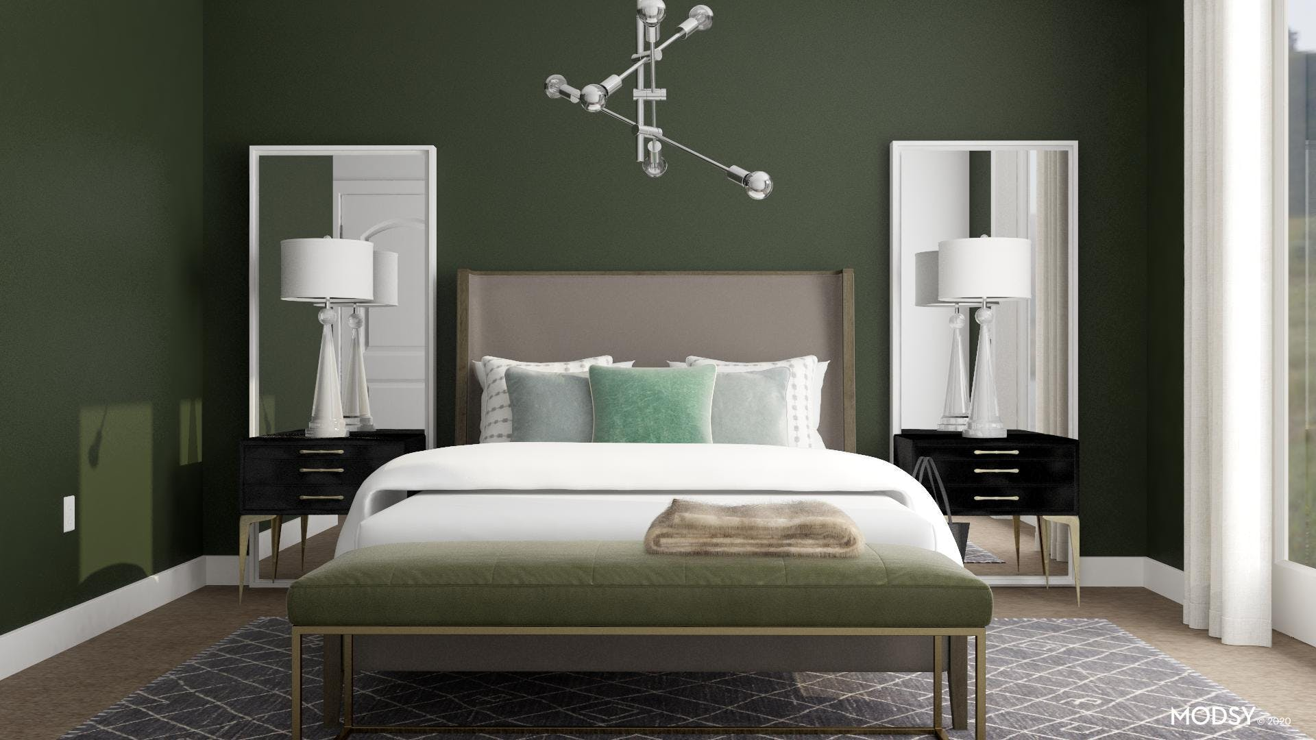 A Modern Green Bedroom