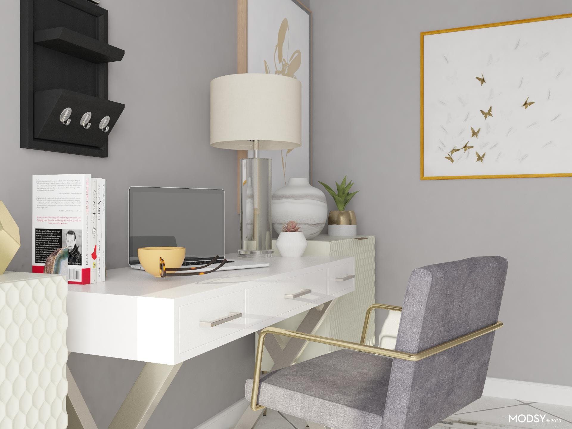 Neutral Glam in Home Office
