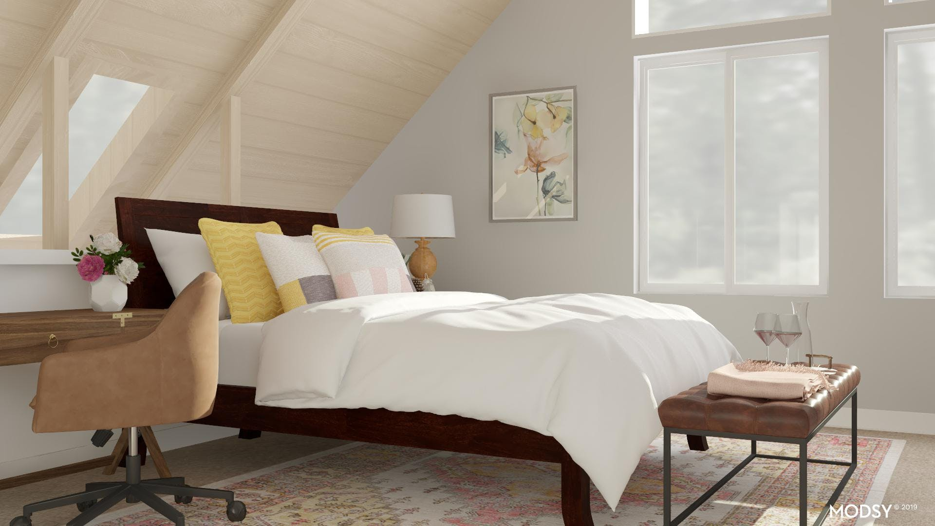 Pink And Yellow Guestroom