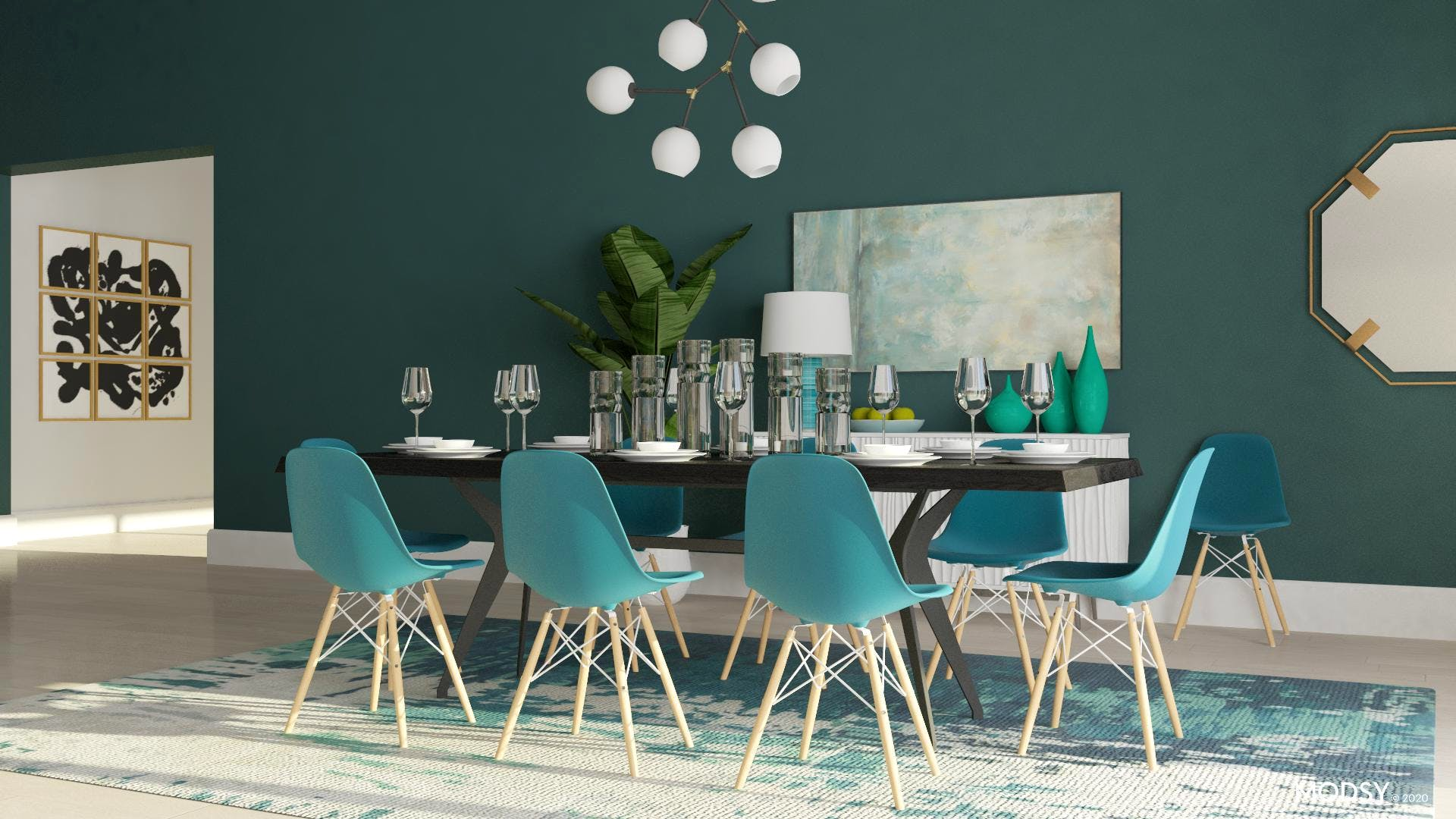 Eye-catching Green Dining Room