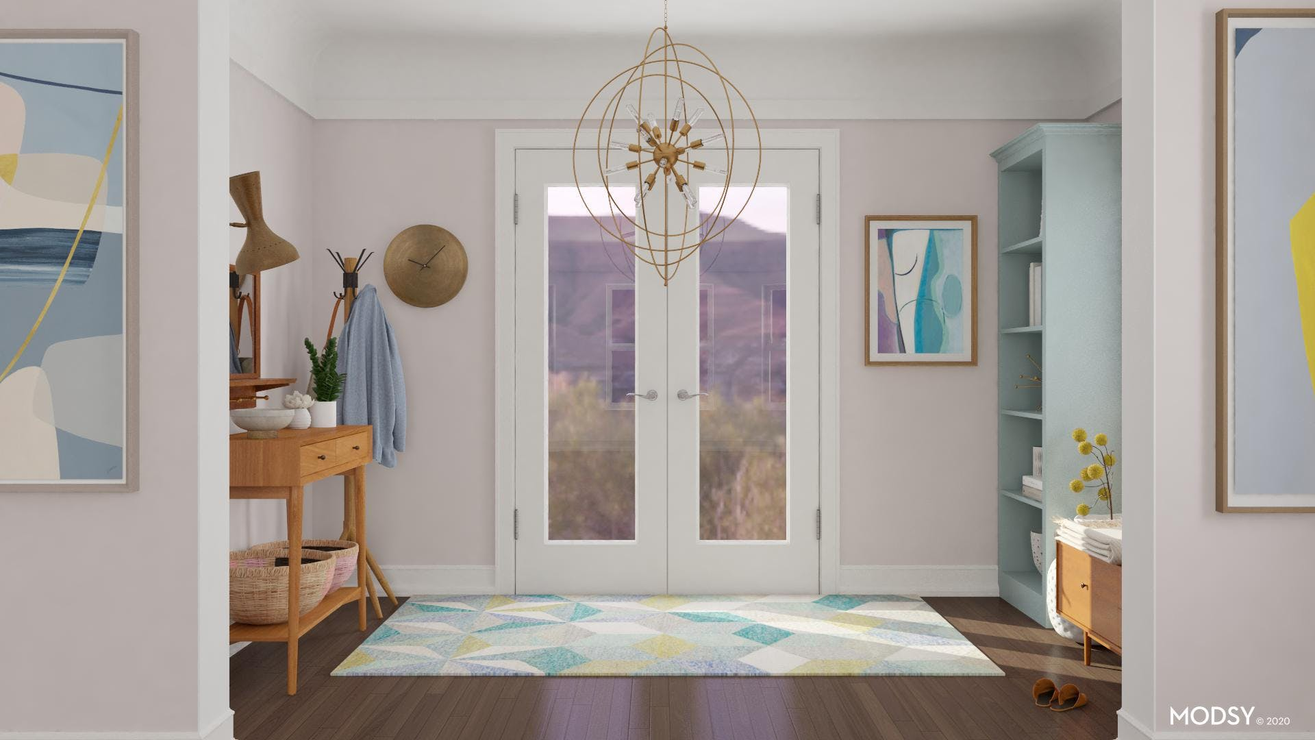 Pastel Palette For Mid-Century Entry