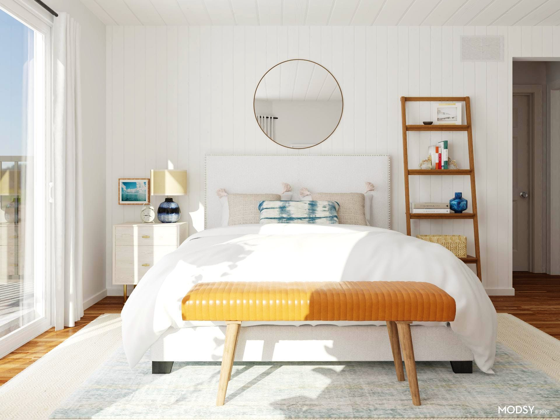 Beachy Mid-Century Modern Bedroom