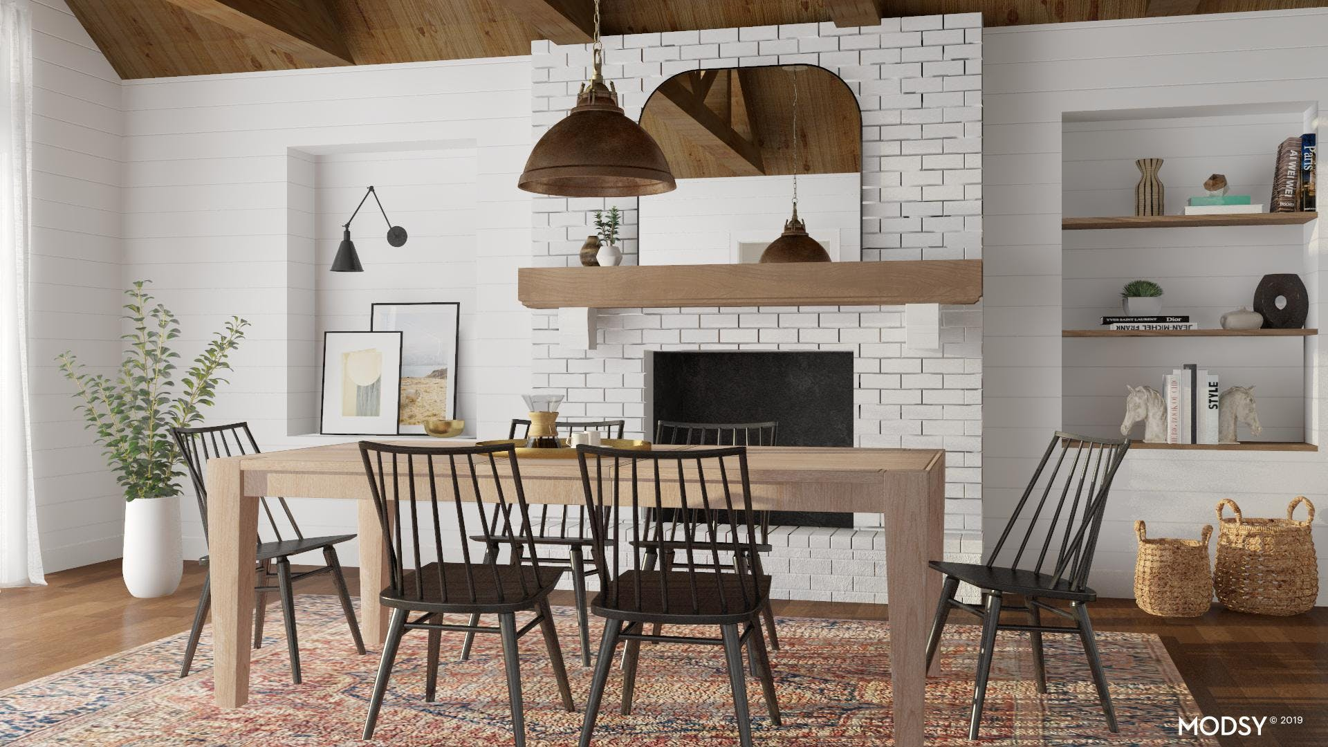 Drama Meets Neutral in a Rustic Dining Room