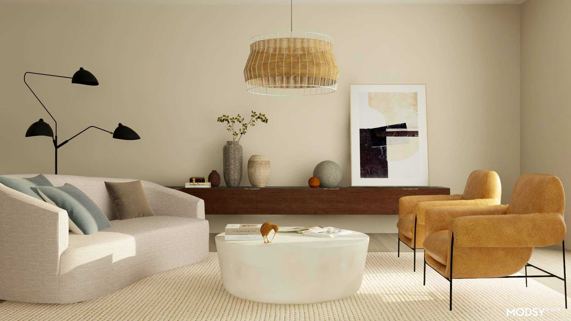 Organic Modern Living Room  in Neutral Tones