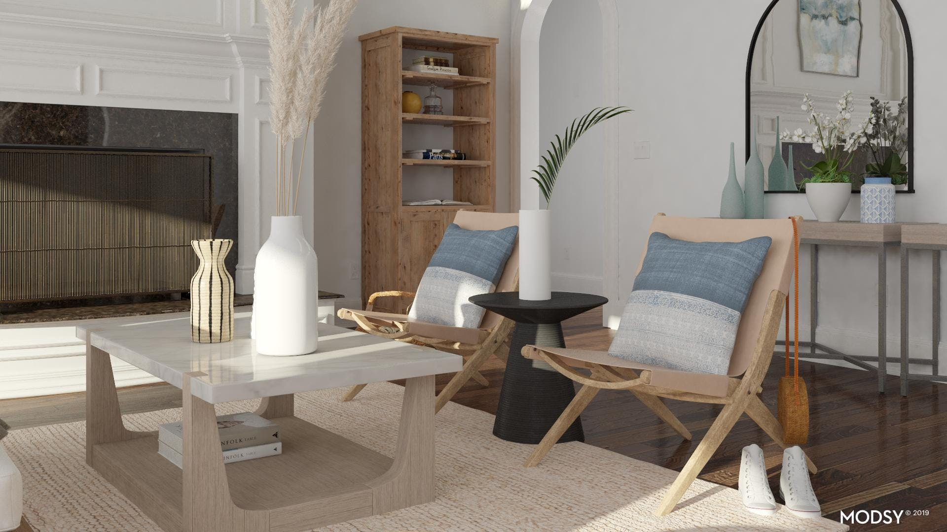 Accent Leather Sling Chairs In Living Room