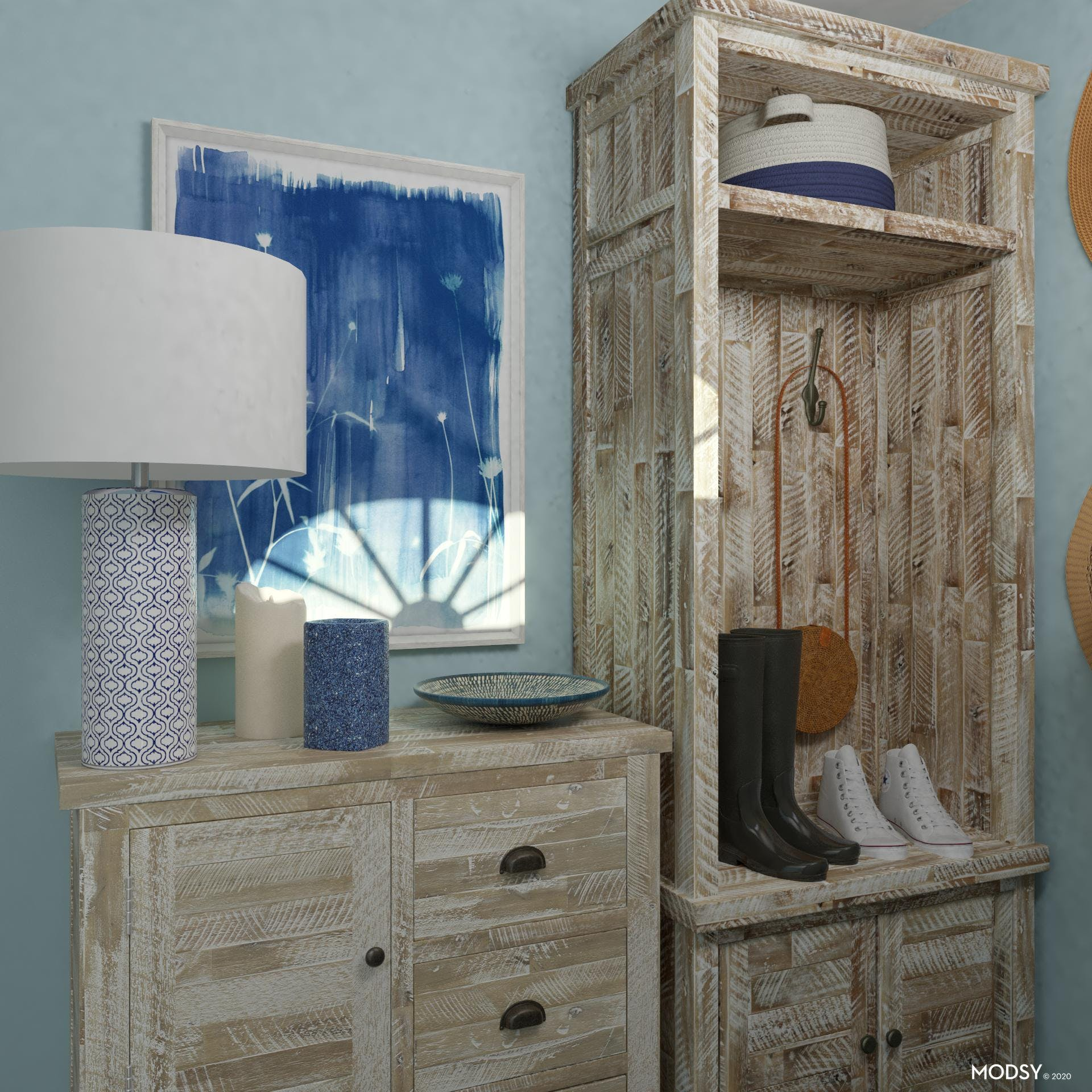Organize with Storage in Rustic Entryway