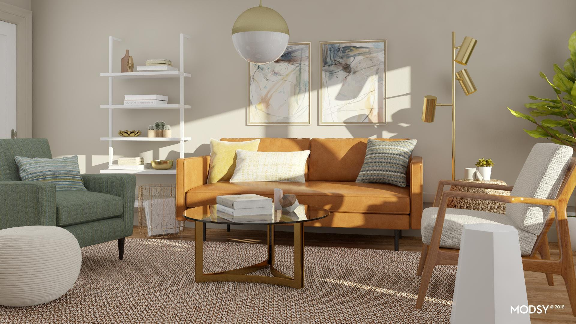 A Warm & Eclectic Modern Living Room