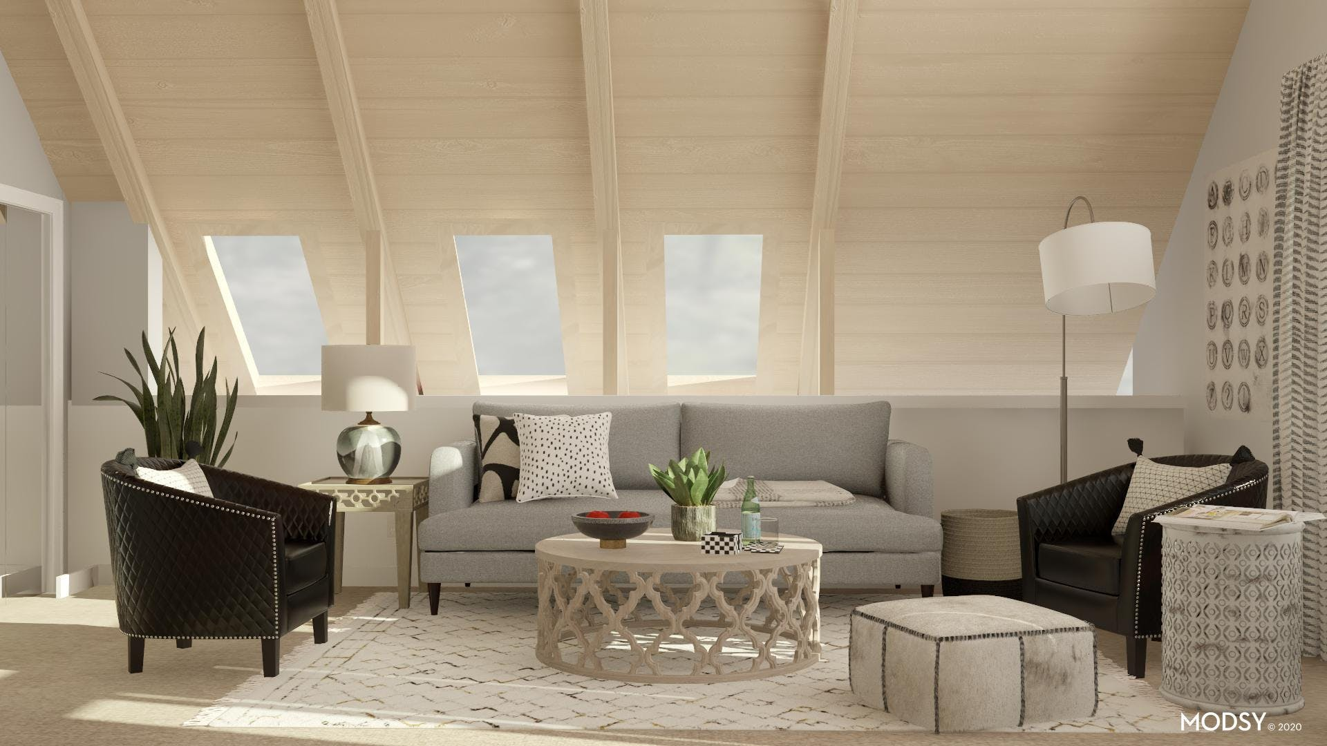 Transitional Black and White Living