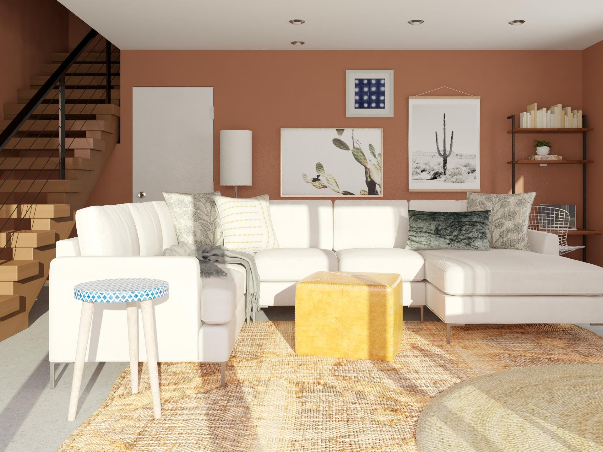 Contemporary Living Room in Desert Hues