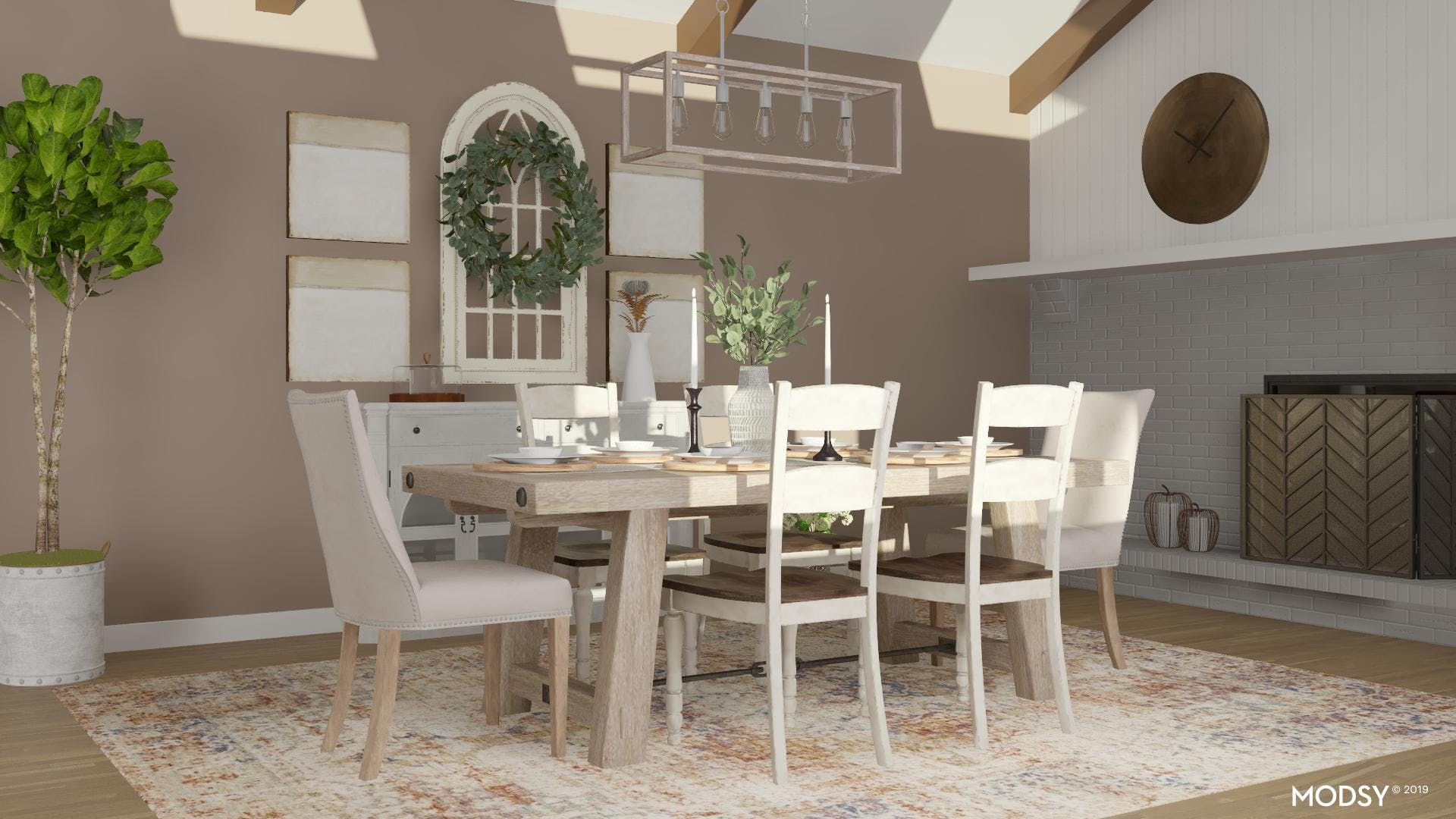 Farmhouse Style Dining Room In Earth Tones