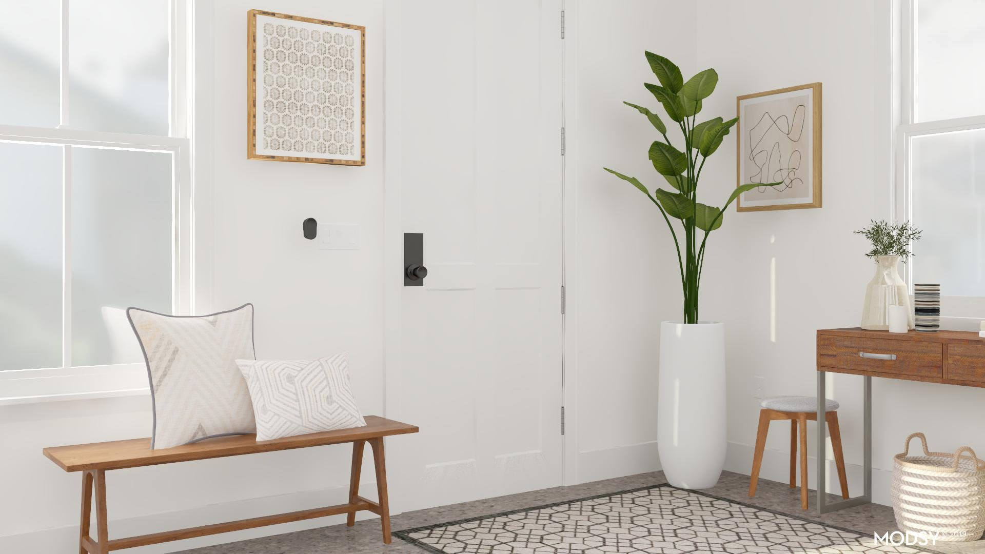 An Inviting And Refreshing Mid-Century Entryway
