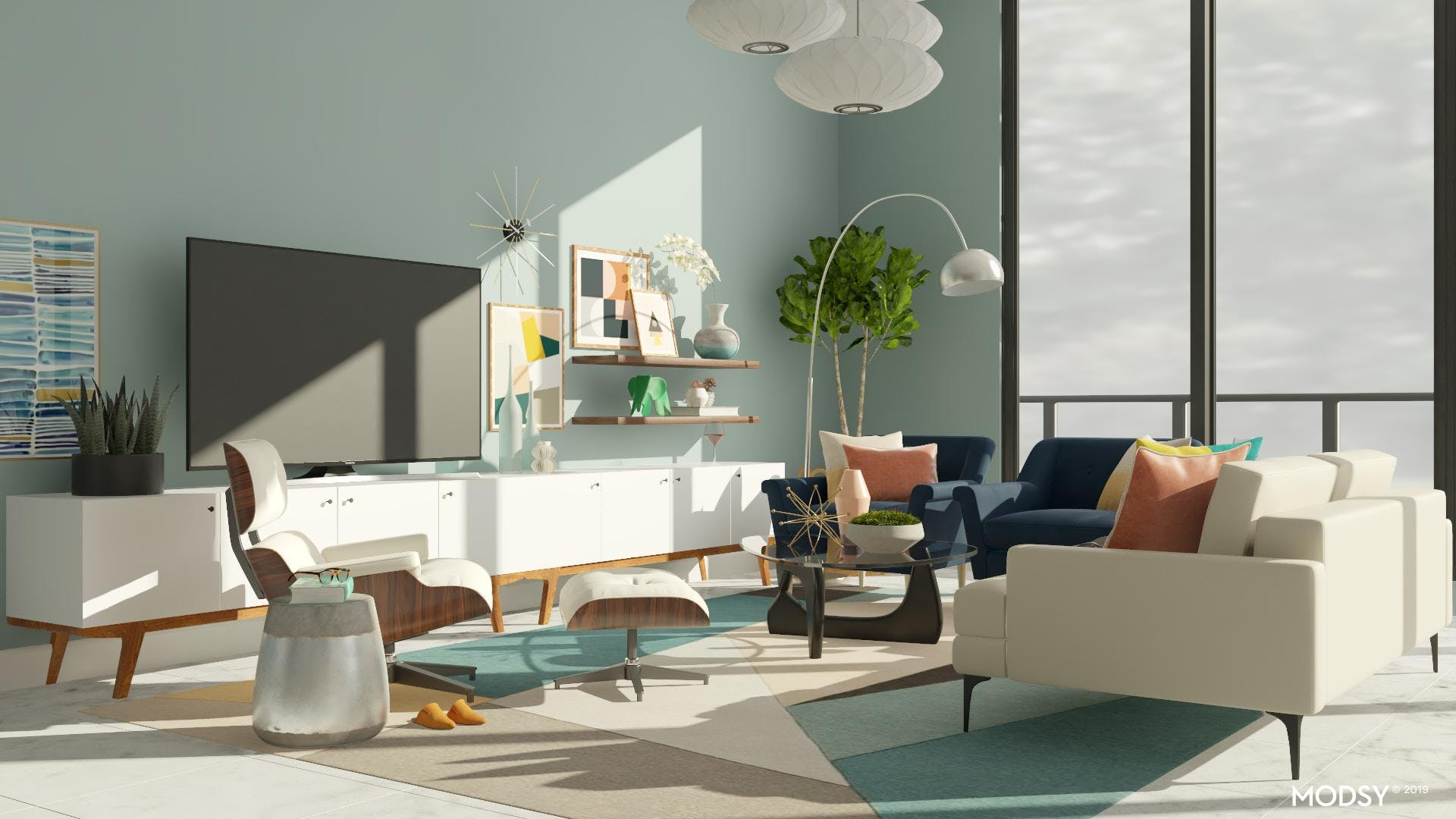 A Mid-Century Living Room Brings Bright Back