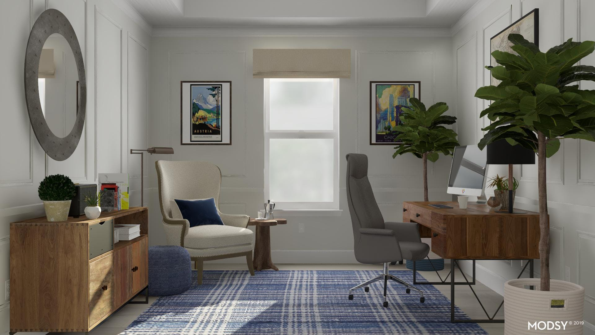 Vibrant And Rustic Office