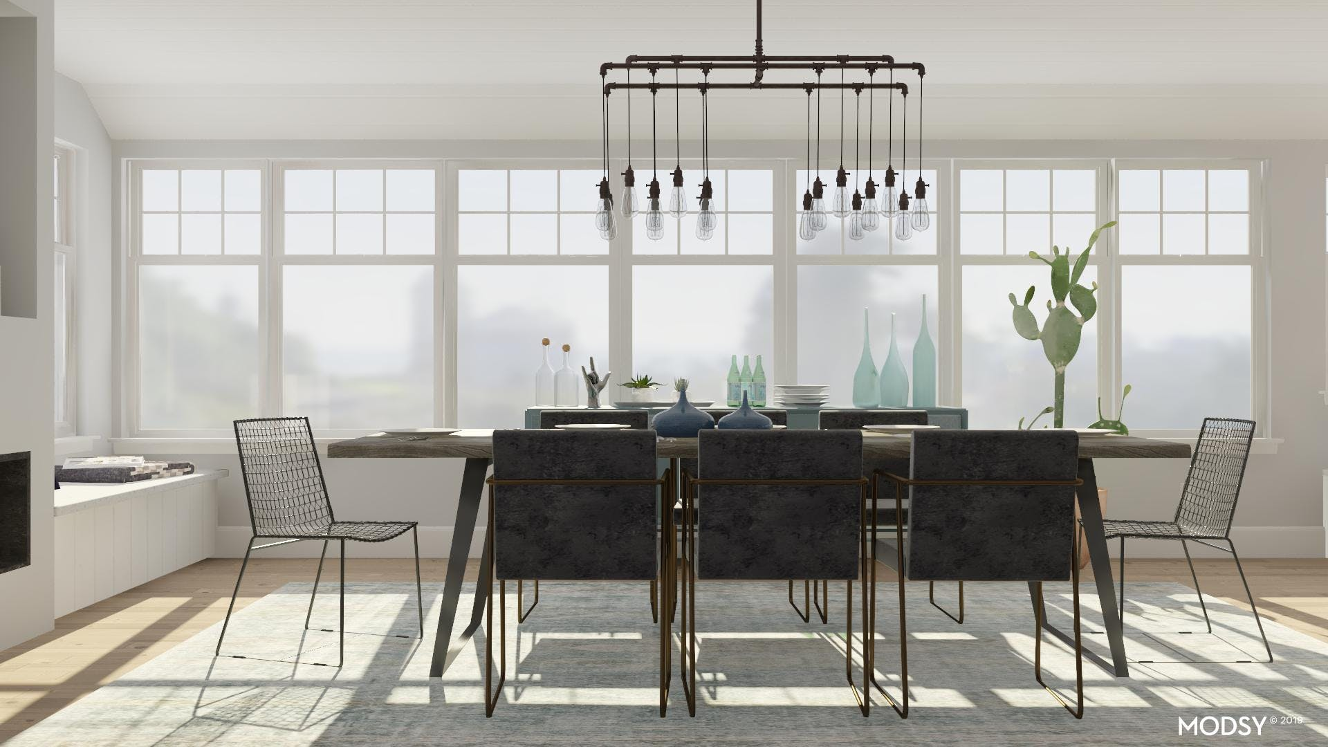 Industrial Dining Room: Metals and Two-Tones