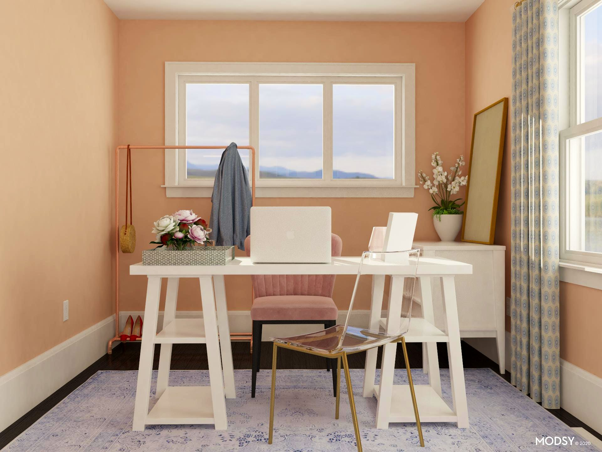 Preppy In Coral: Home Office Design
