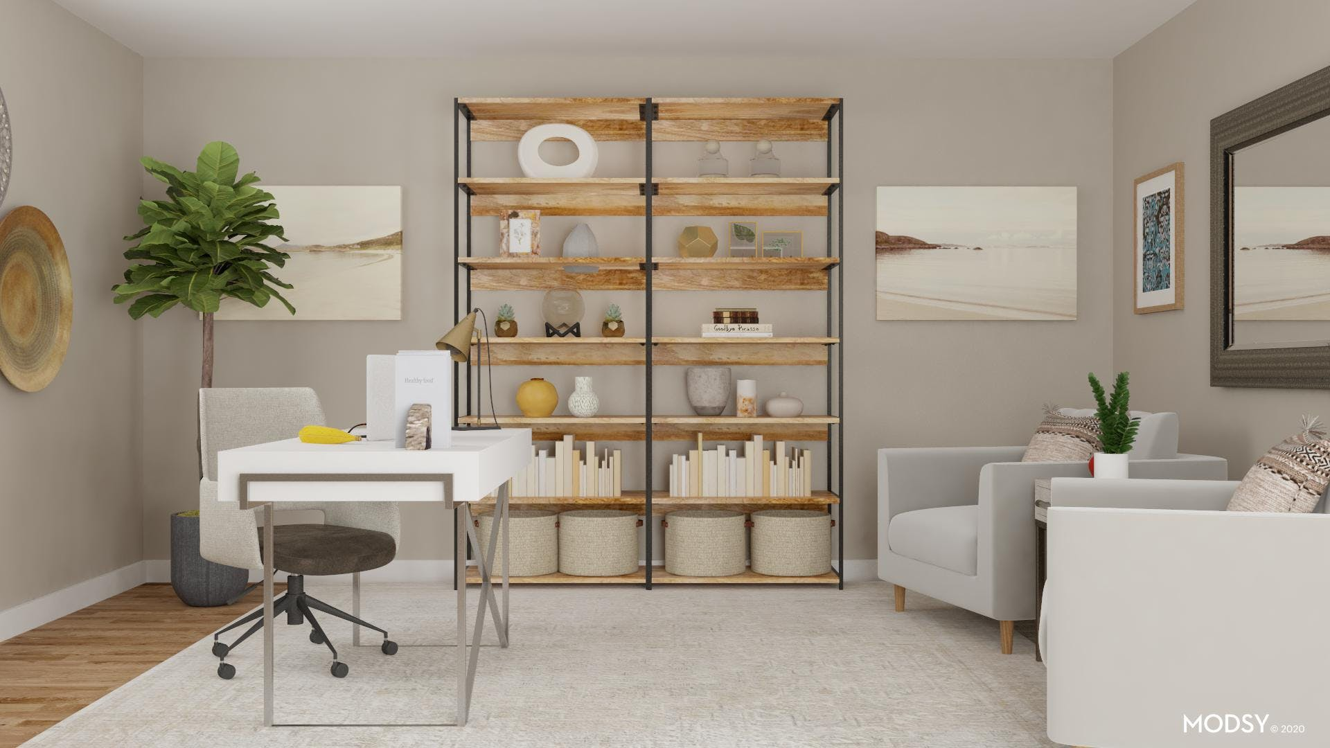 Bookcase Styling in a Transitional Office