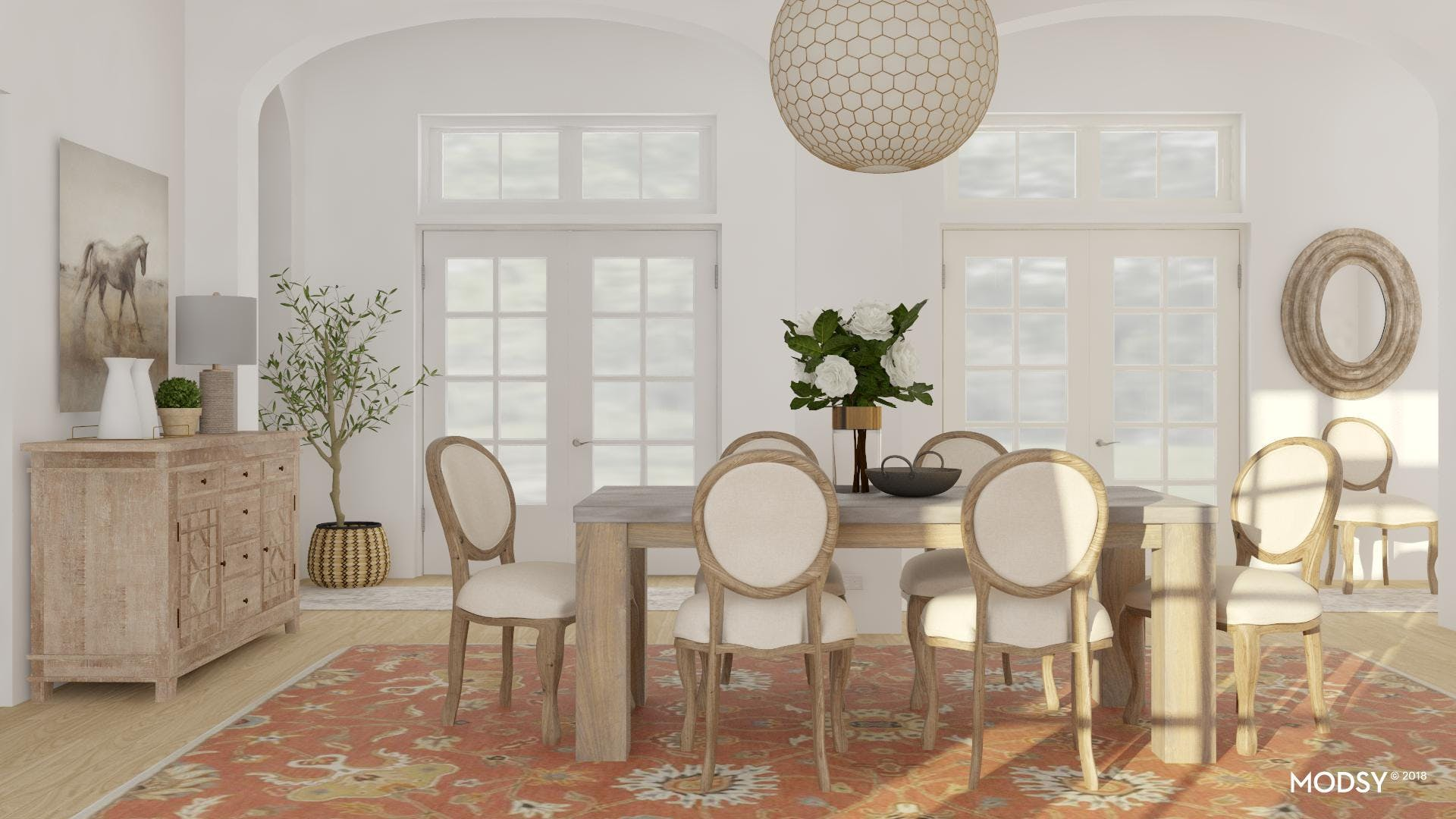 A Serene Refined-Rustic Dining Room