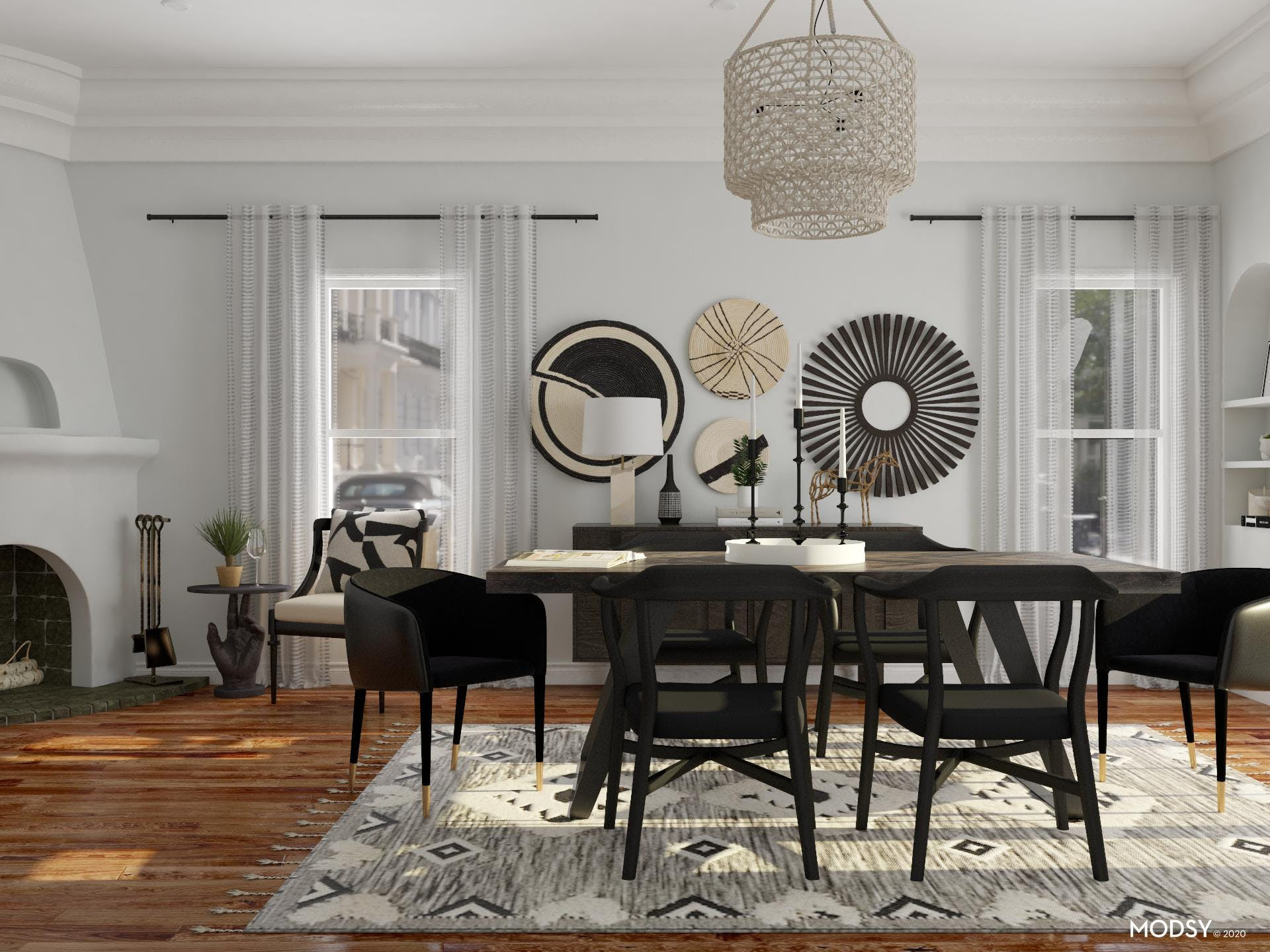 Eclectic Dining Room: Black & White