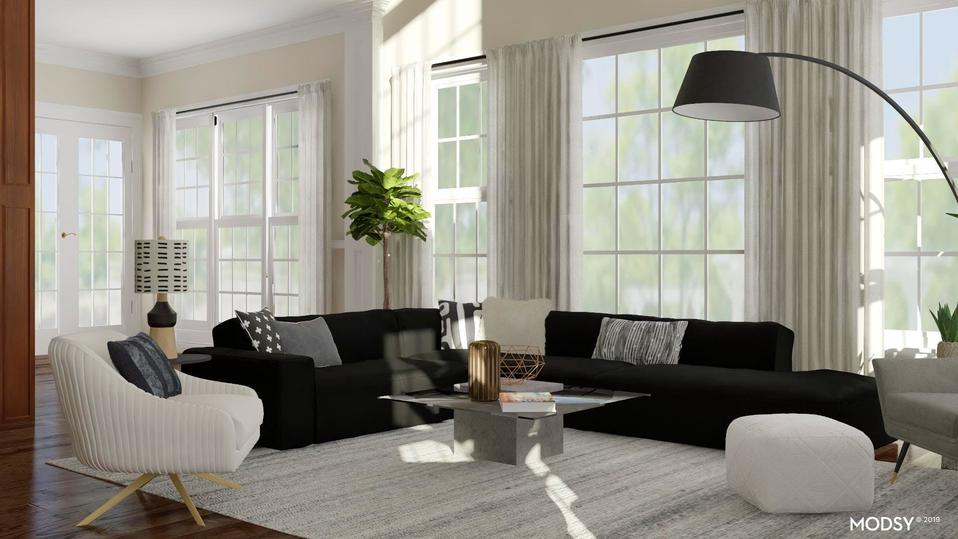 Bold Black and White Living Room