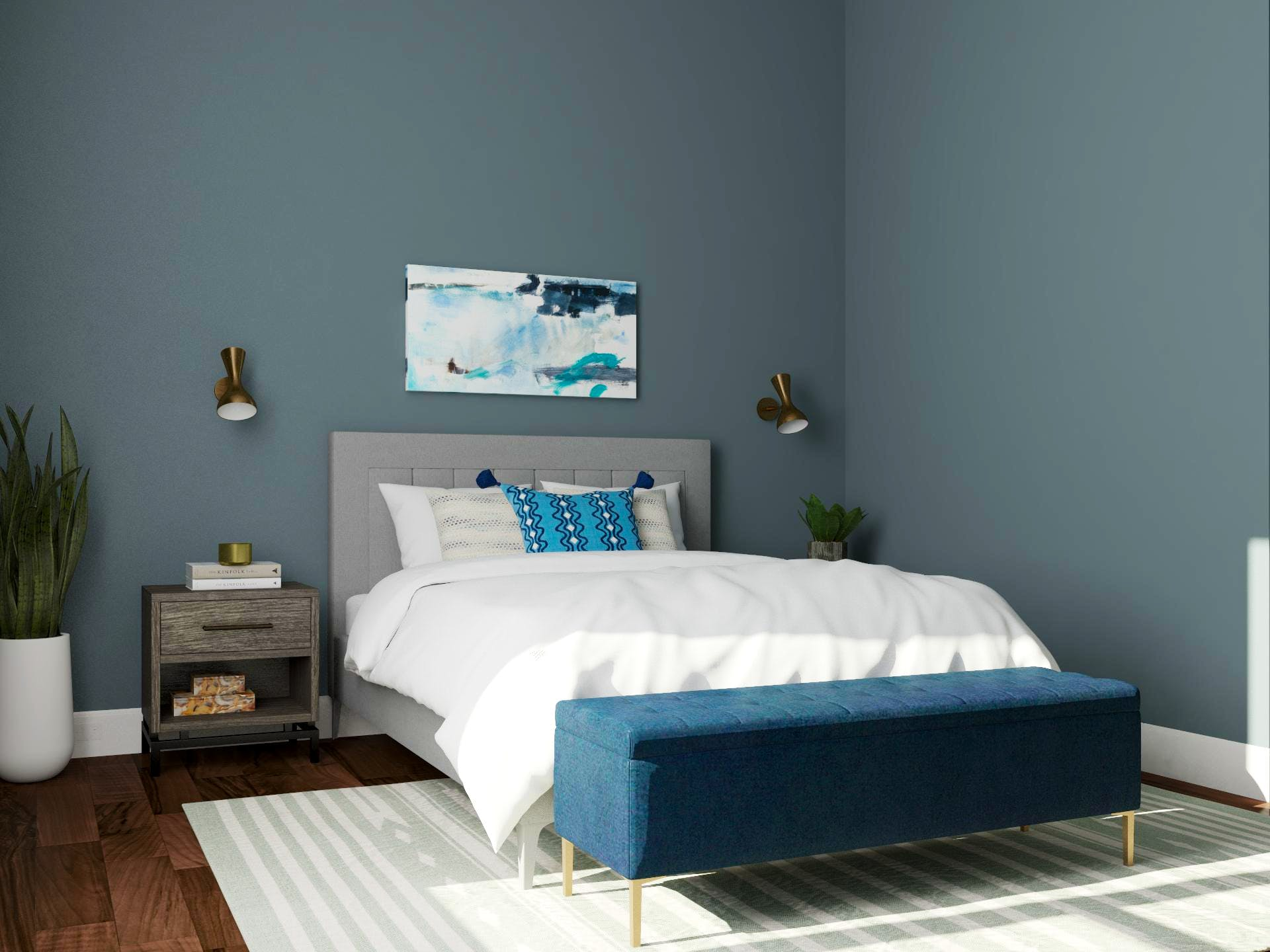 Mid-Century-Modern Bedroom in Blue with Traditional Layout