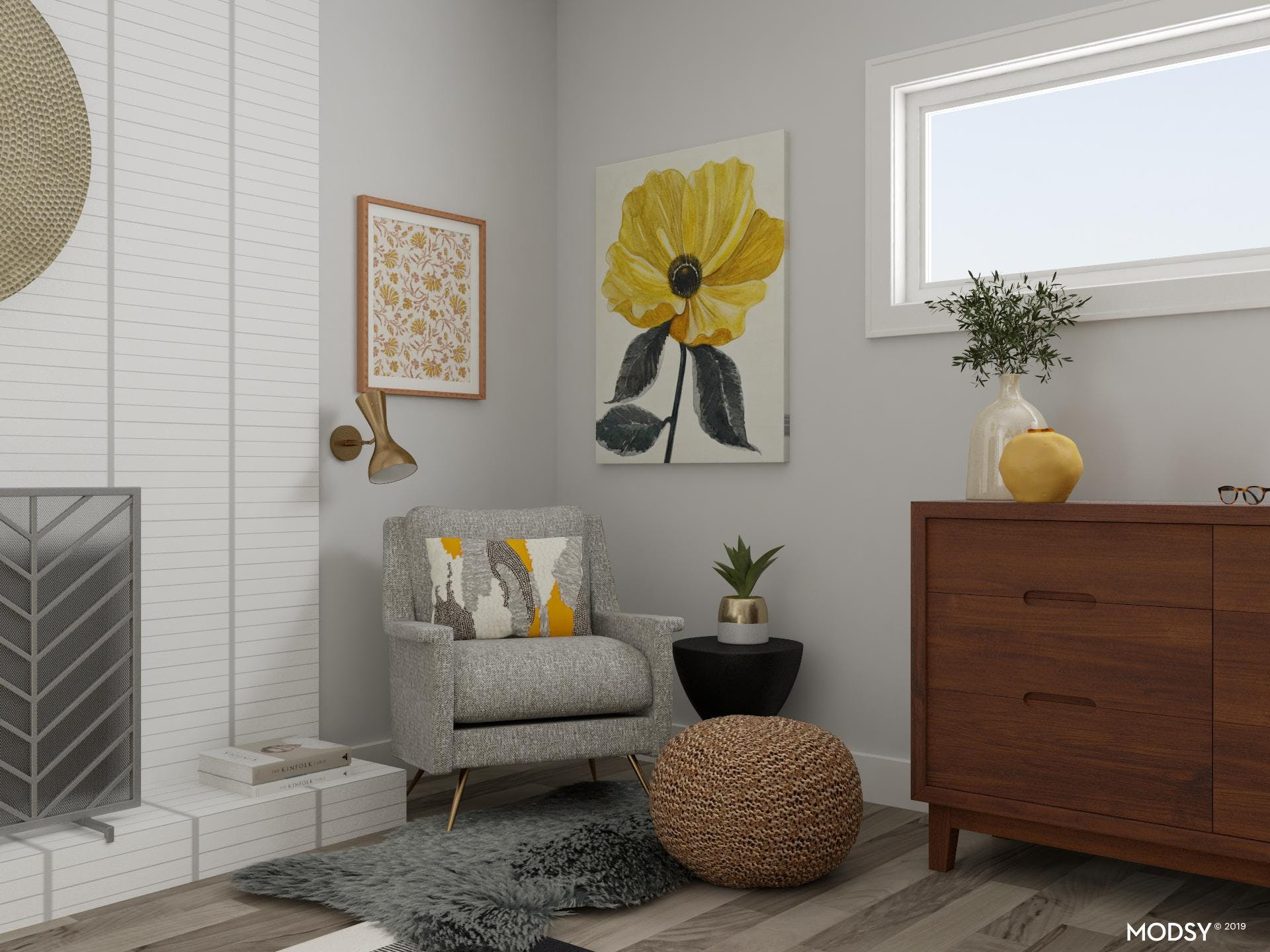 Yellow Reading Nook In Bedroom