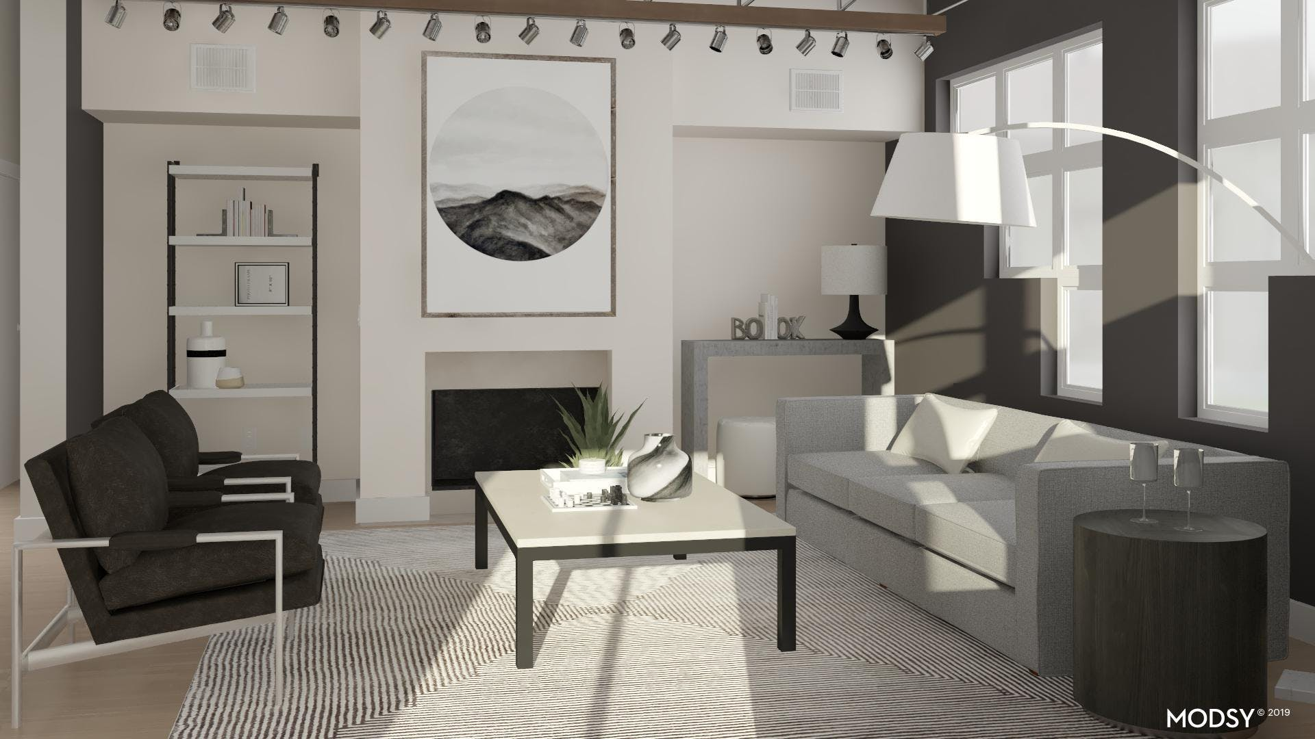 Black, White, And Masculine: Living Space