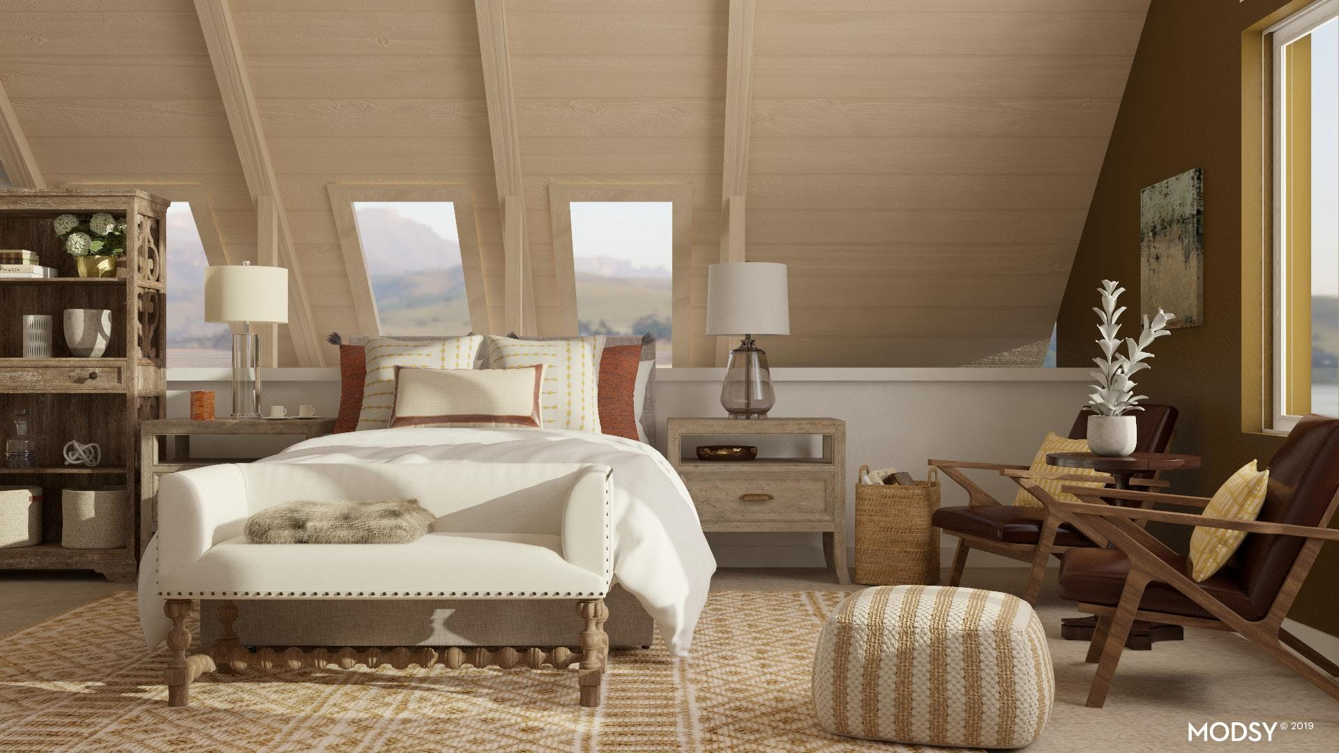 Earth Tones in this transitional Bedroom