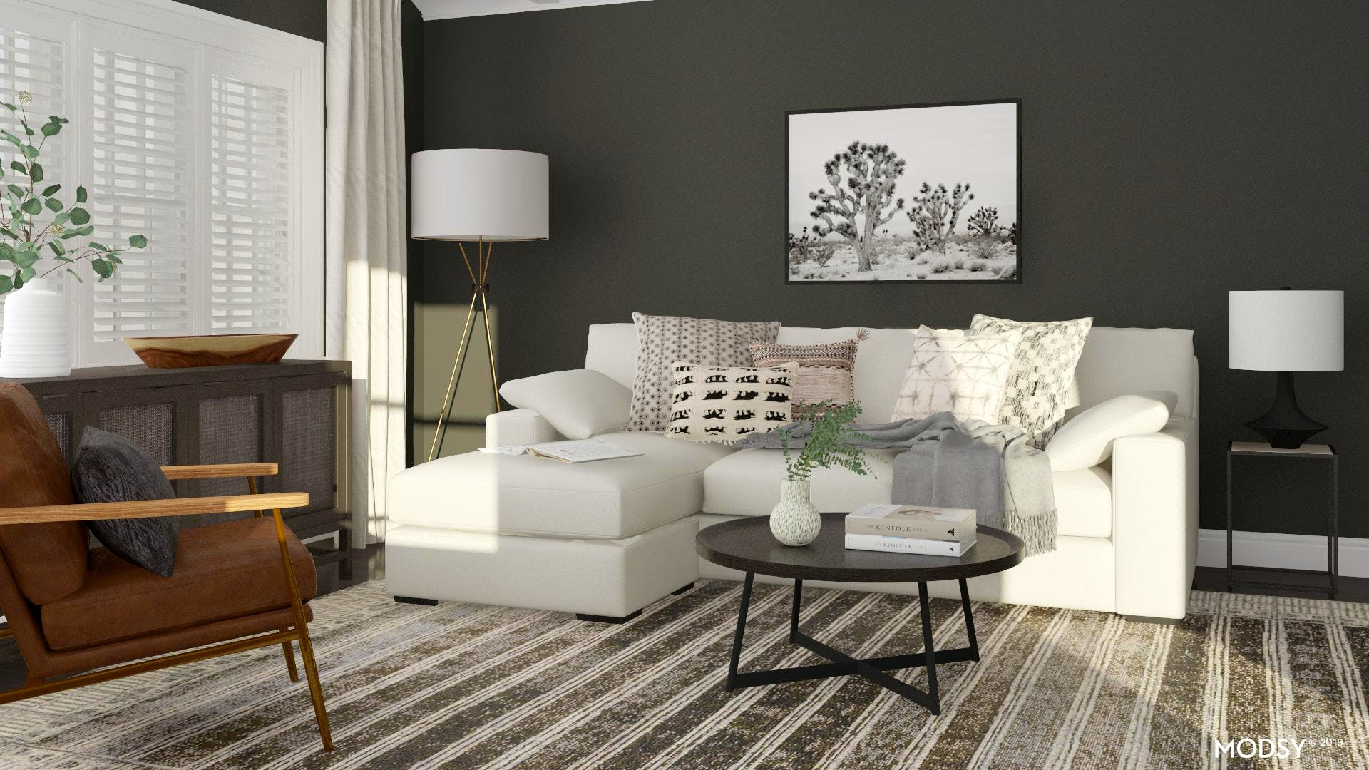 Rustic Living Room With Dark Tones