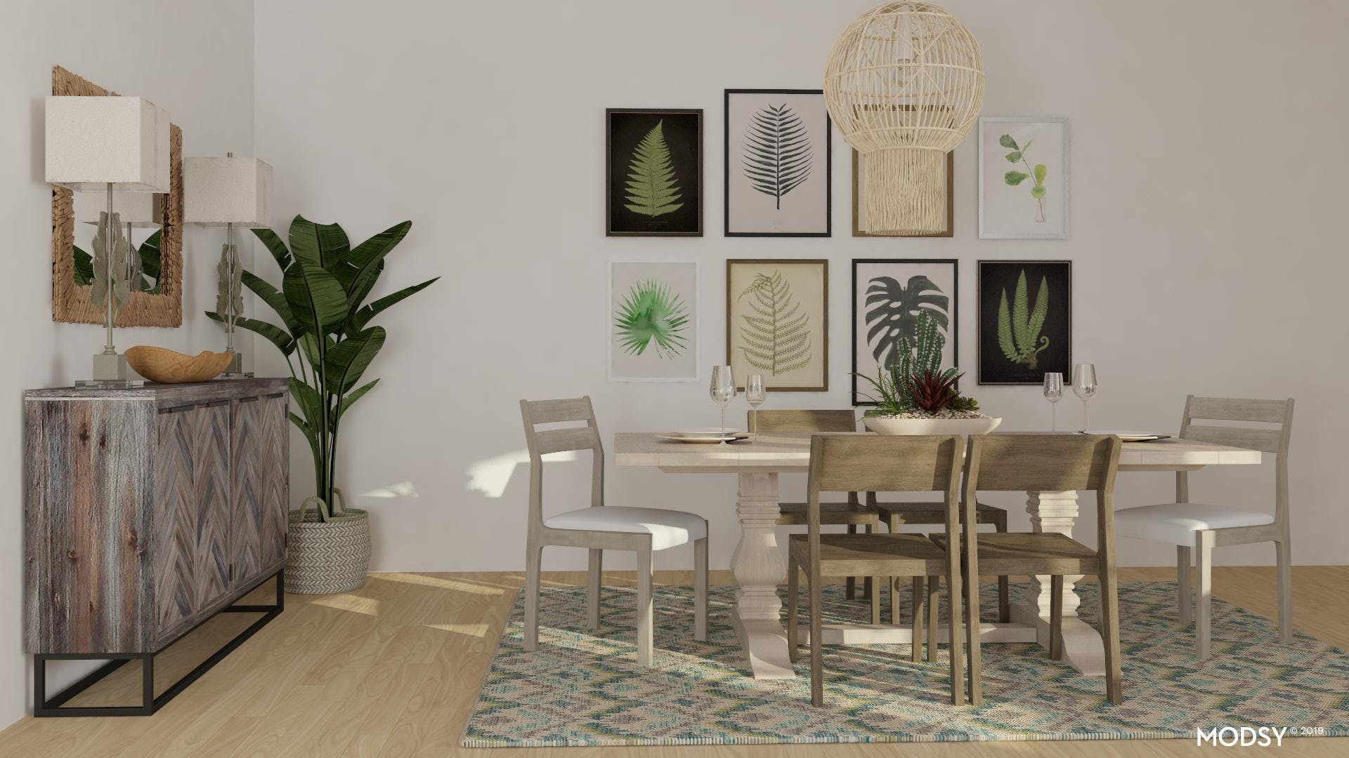 Rustic and Green Dining Room